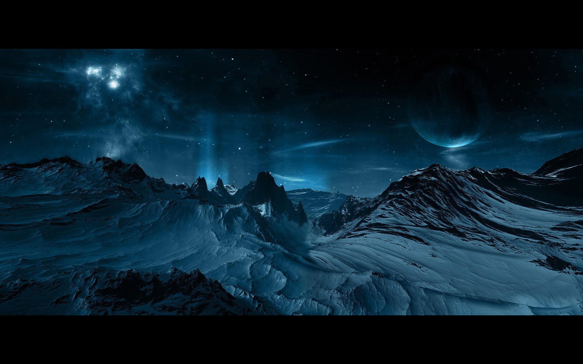 Planets above snowy mountains