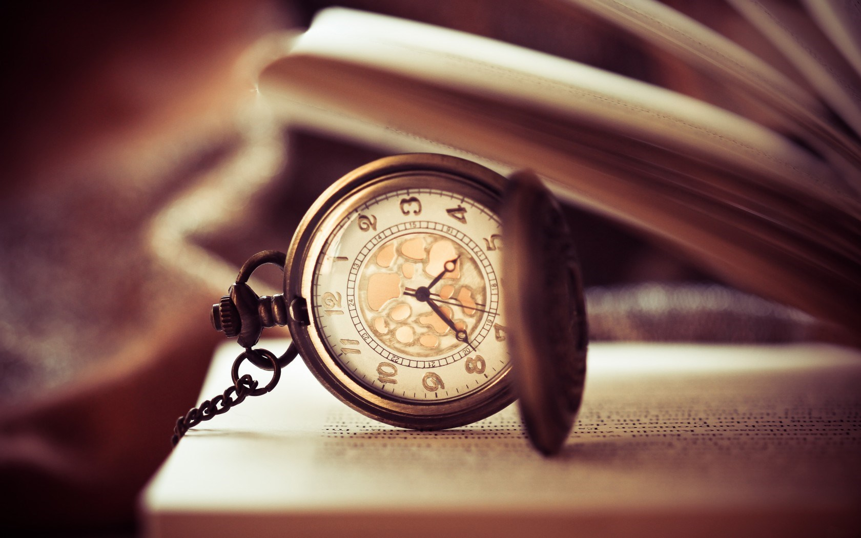 pocket watch time clock bokeh