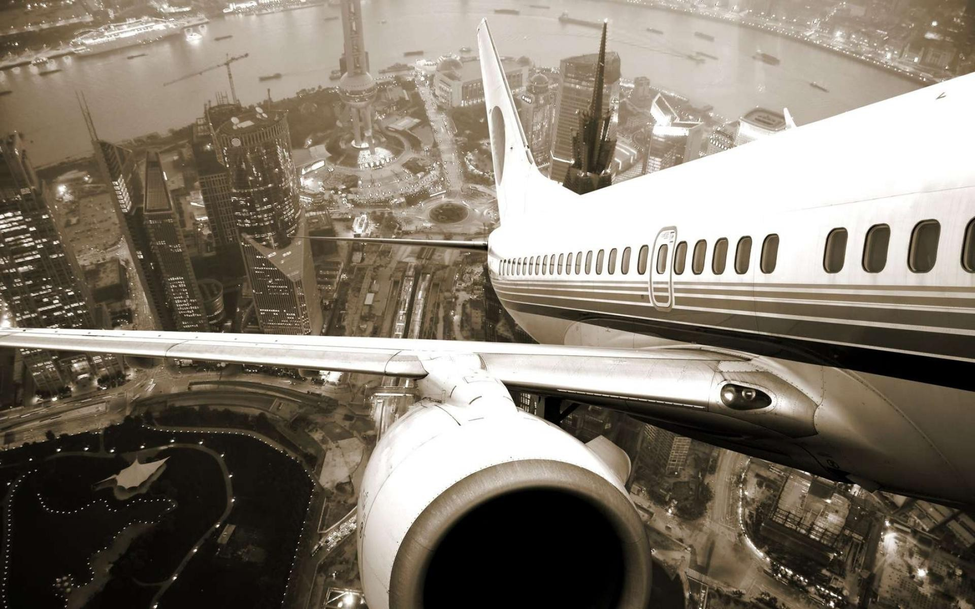Private jet leaving the city