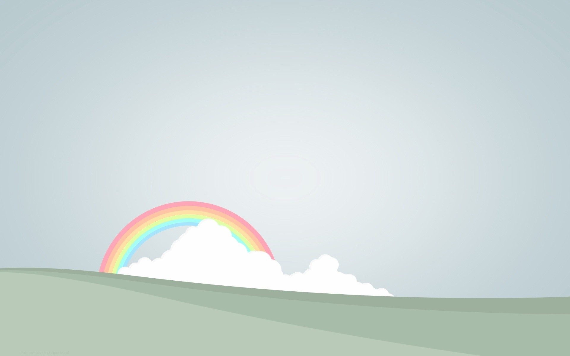 Rainbow behind the clouds