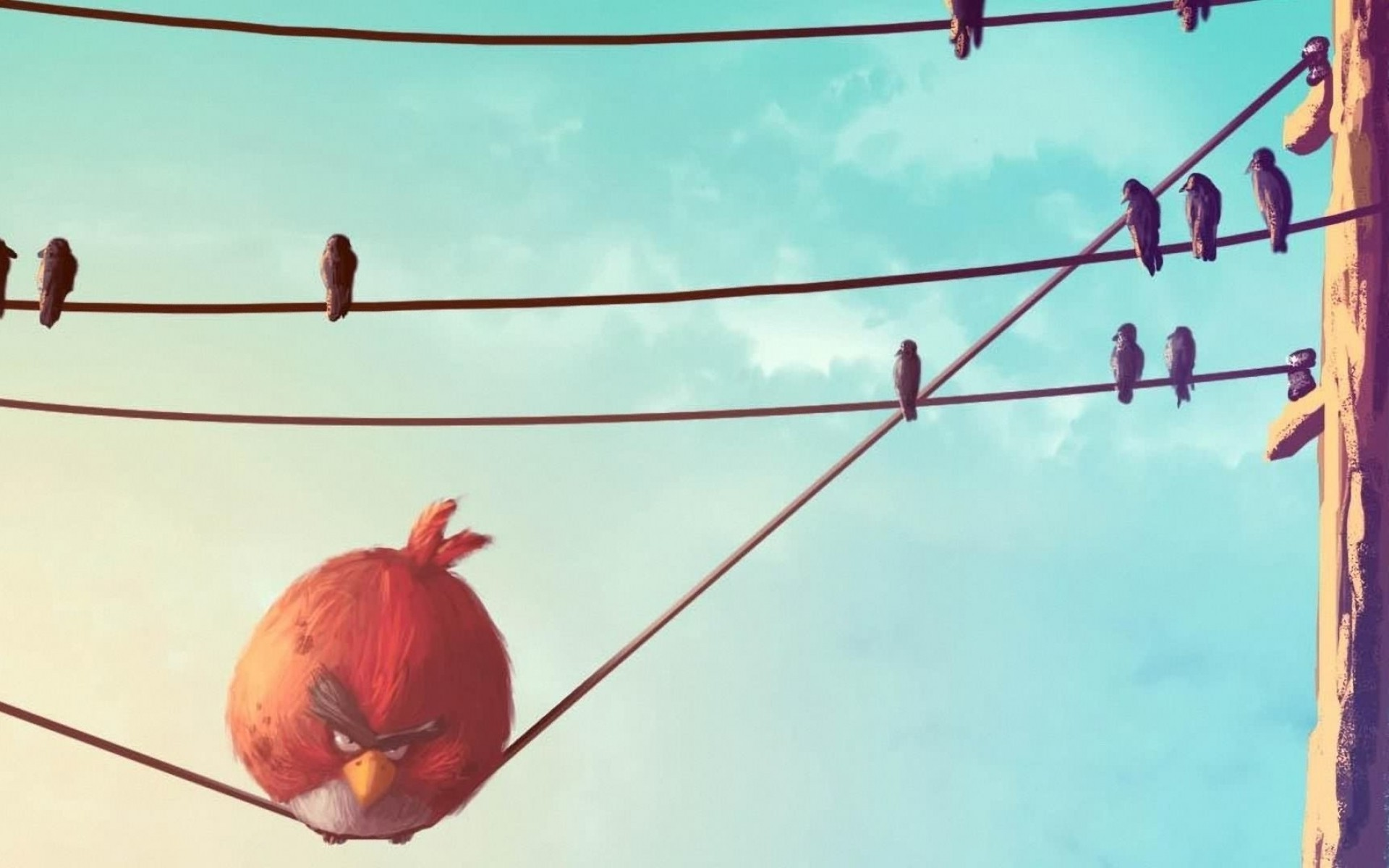 Red Angry Bird on the wire
