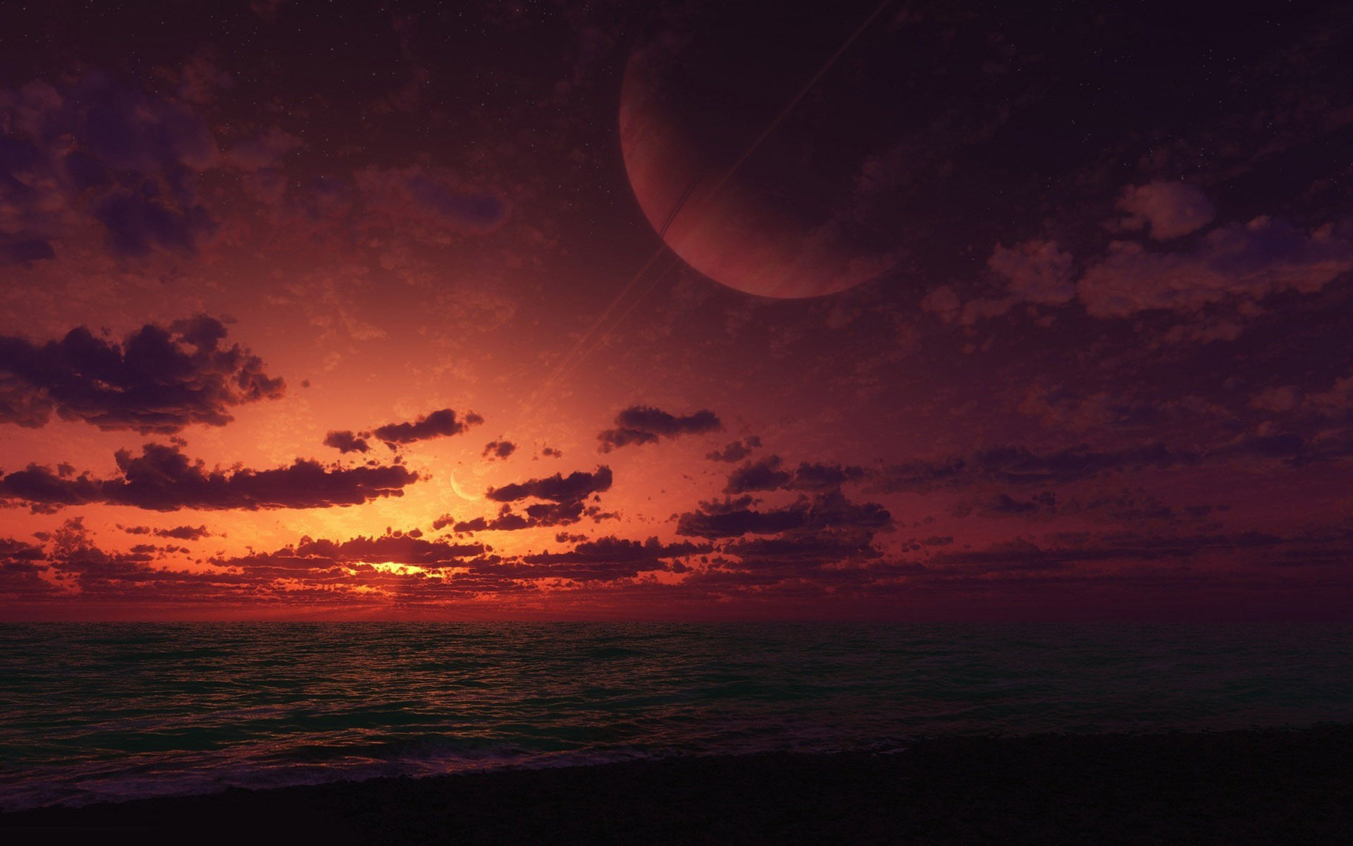 Ringed planet over the sea