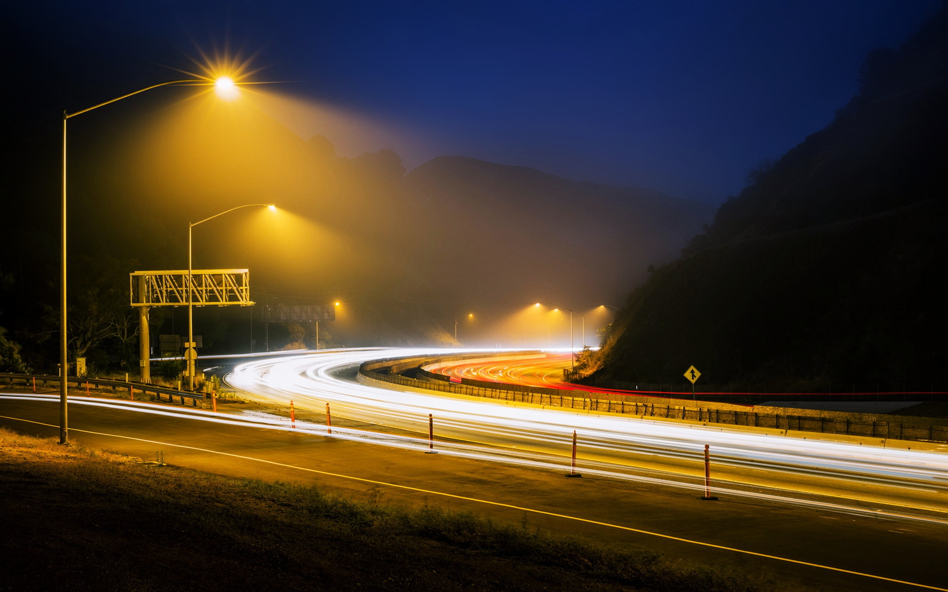 road night fog hills Lamps way path lights landscapes nature earth