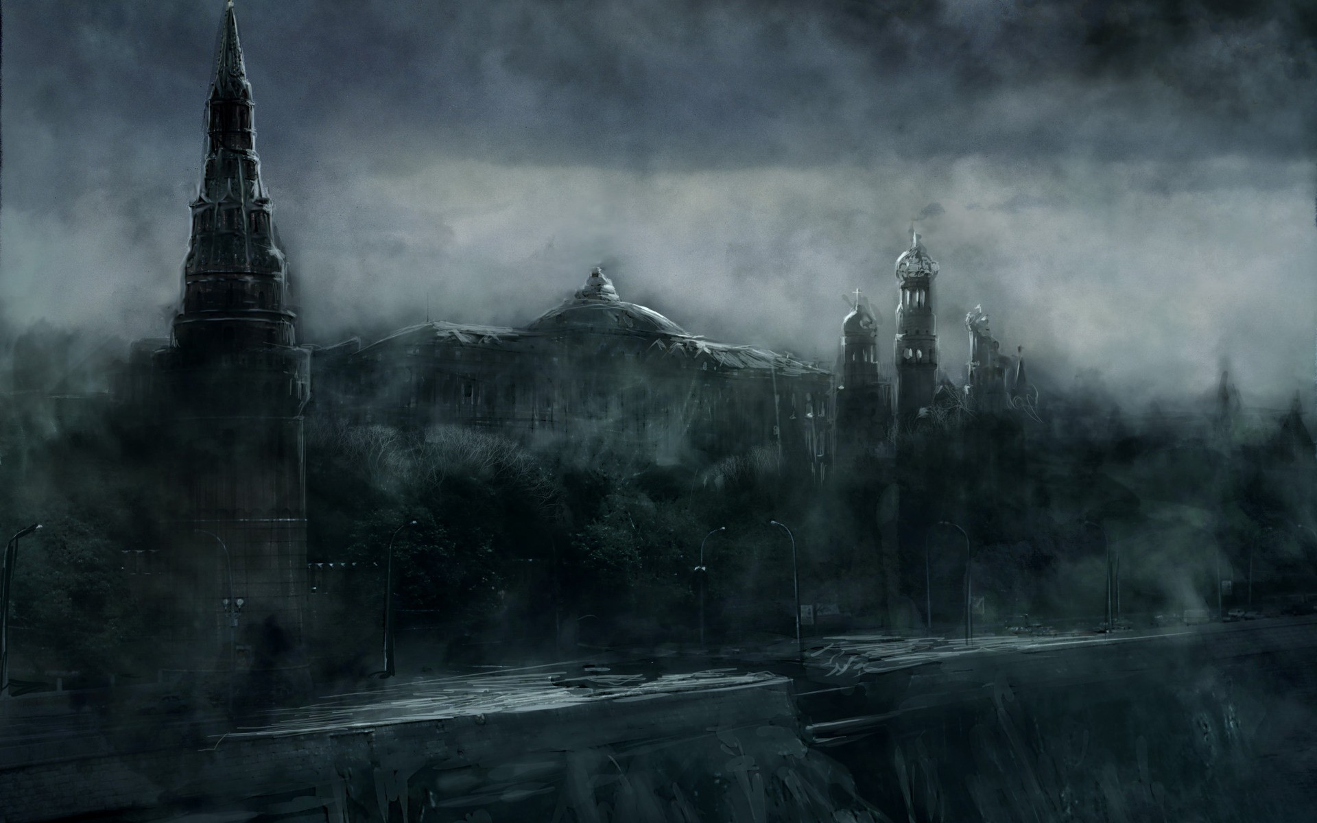 Ruins post-apocalyptic architecture mist buildings fantasy art digital art