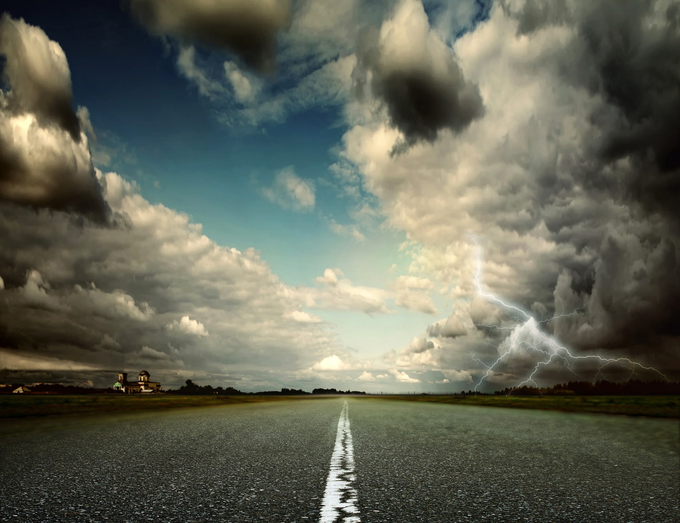 Scenery Roads Sky Grass Clouds Lightning Trees Thundercloud Nature