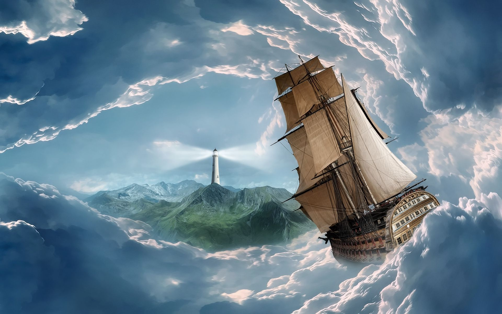 Ship sailing in the clouds