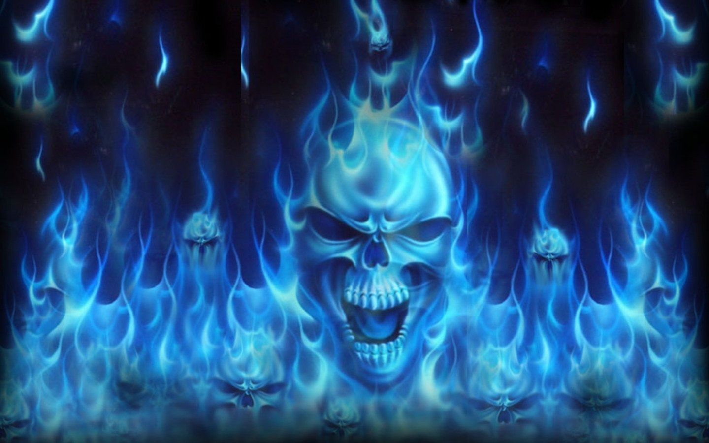 SKULLS - dark abstract flames blue