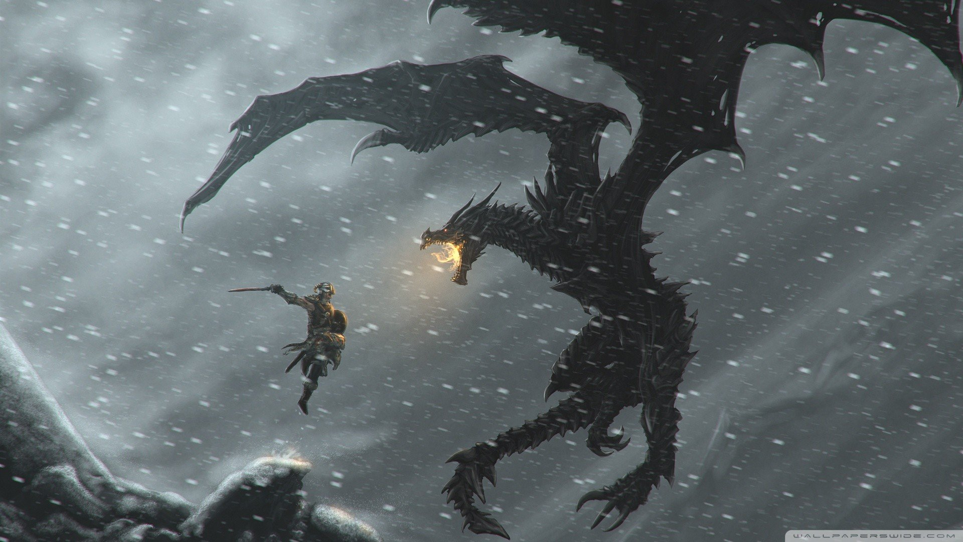 snow dragons fantasy art warriors The Elder Scrolls V: Skyrim