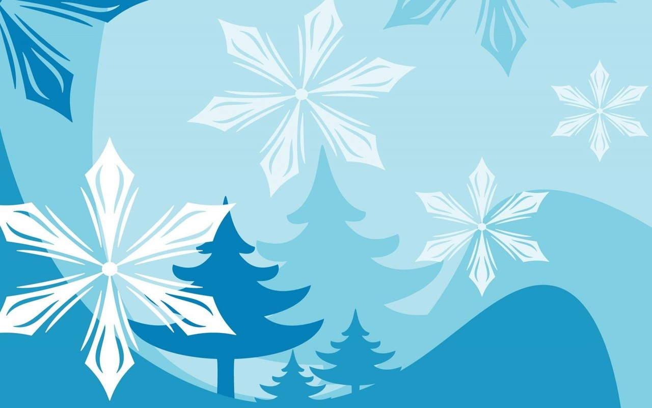 Snowflakes and fir trees