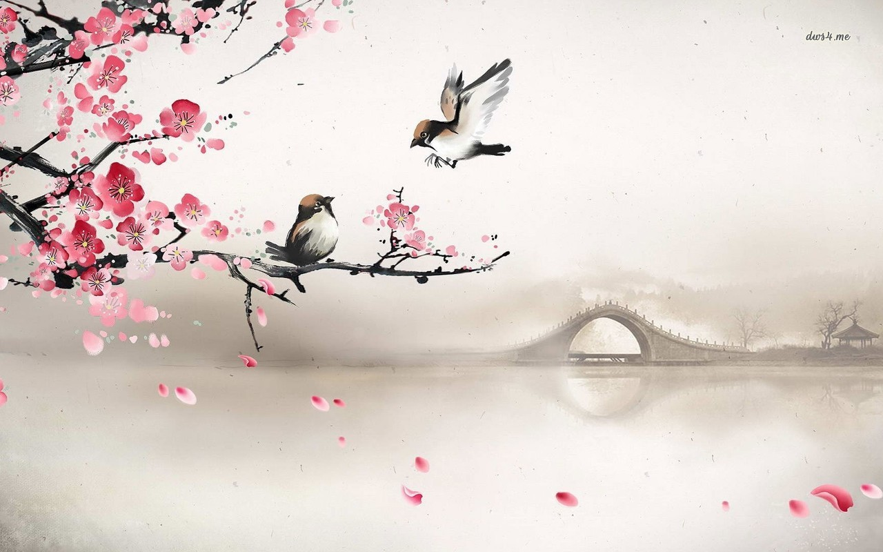 Sparrows on a blossomed tree