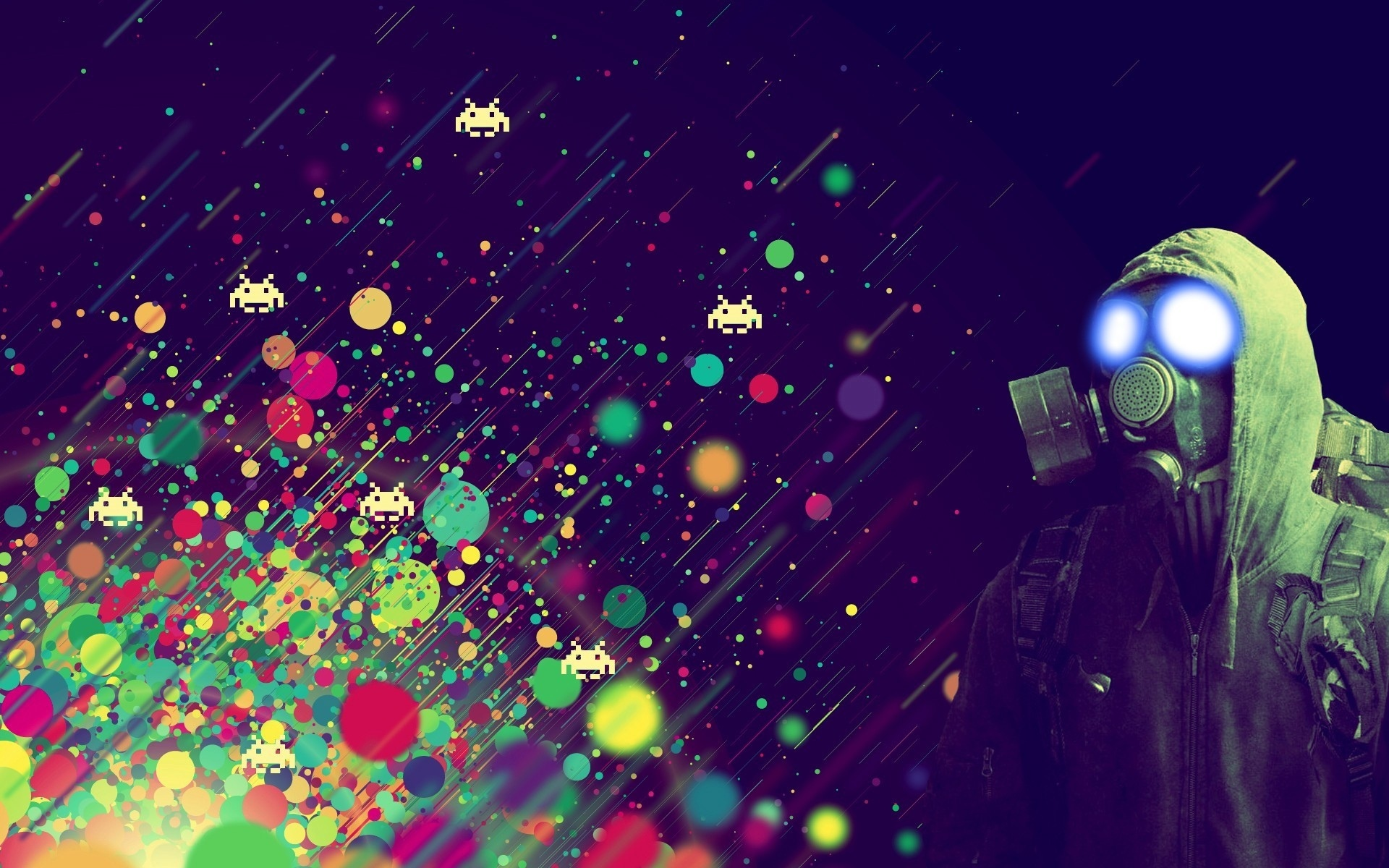 spots mask Abstract colors people space invaders games dark abstract