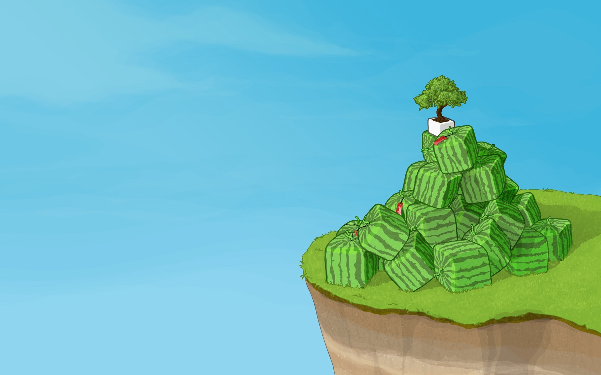 Square watermelons on a cliff