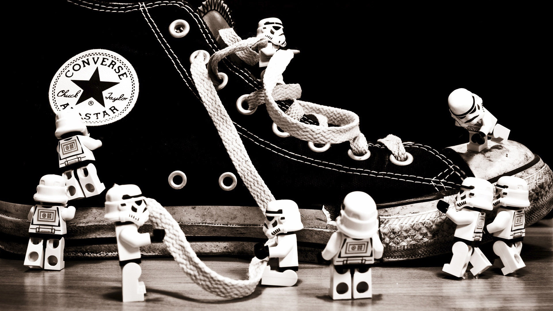 Stormtroopers playing with a sneaker