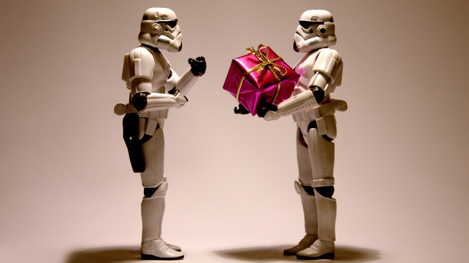 Stormtroopers with a Christmas present
