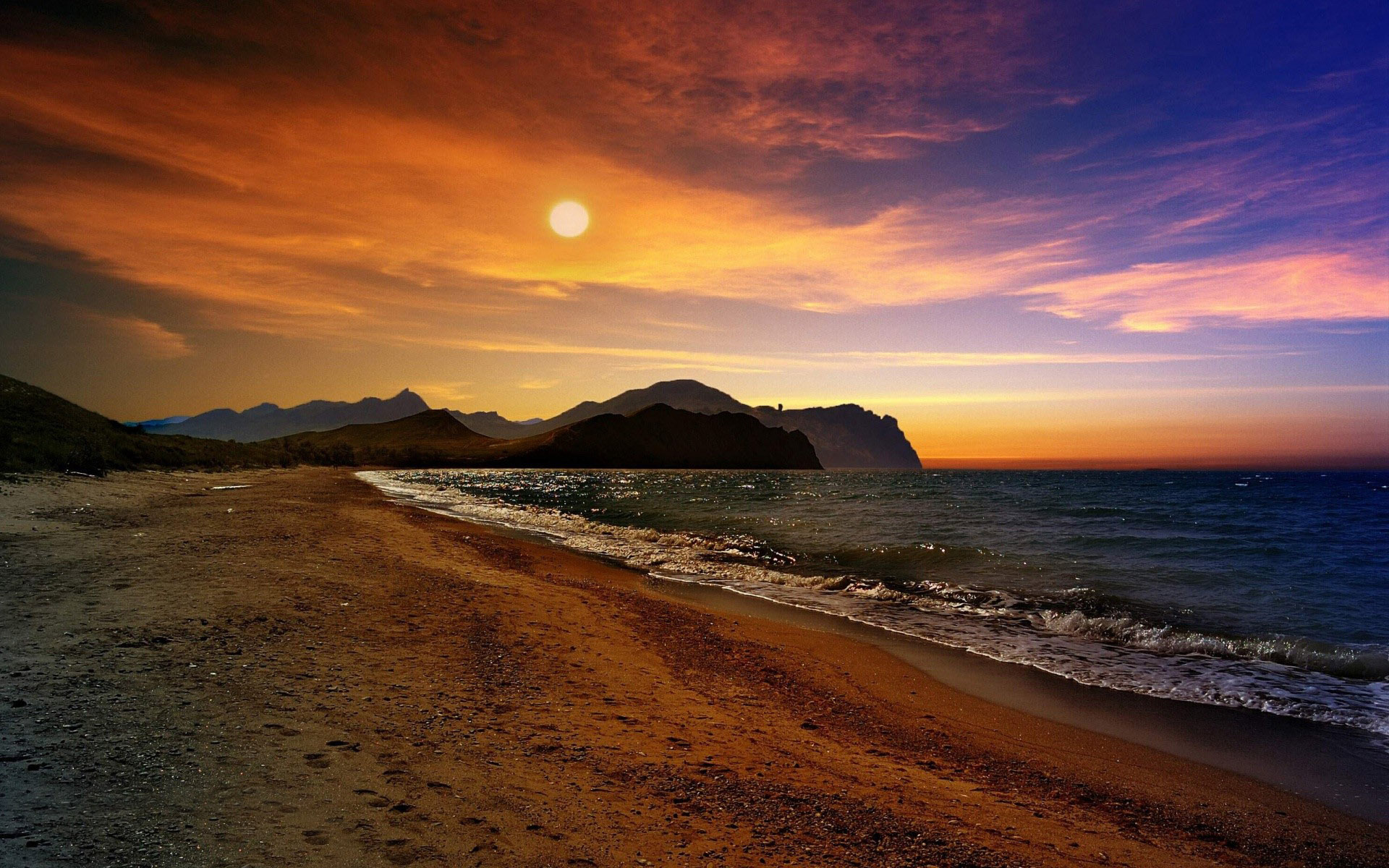 Sunset on a beach in Crimea