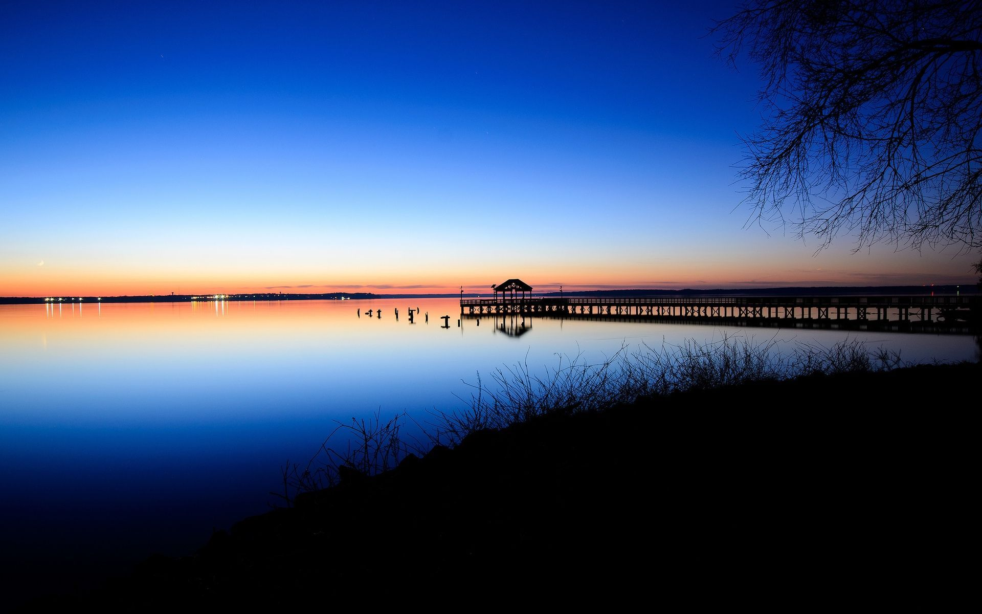 Sunset over the calm water