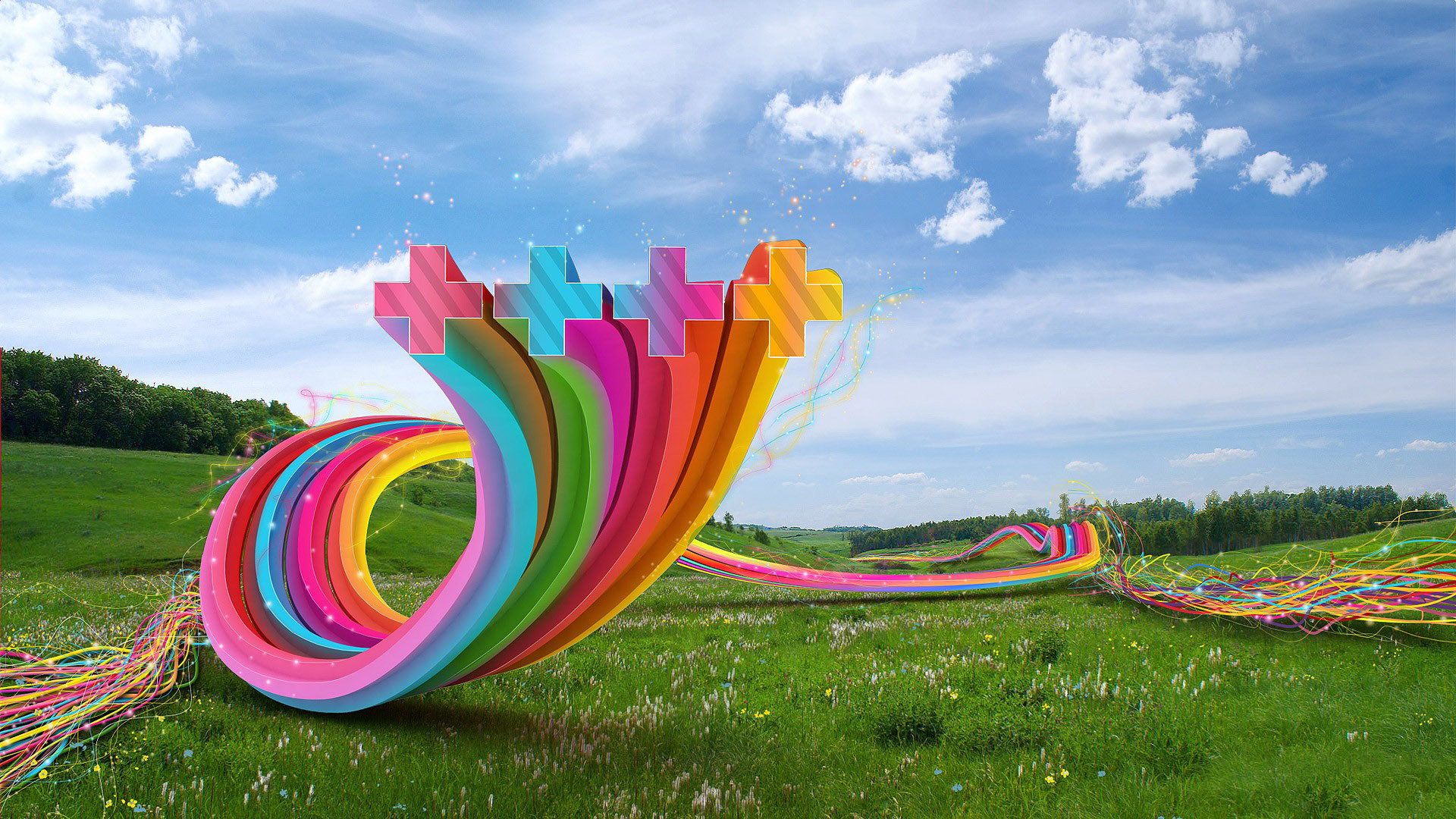 Swirling ribbons in the meadow