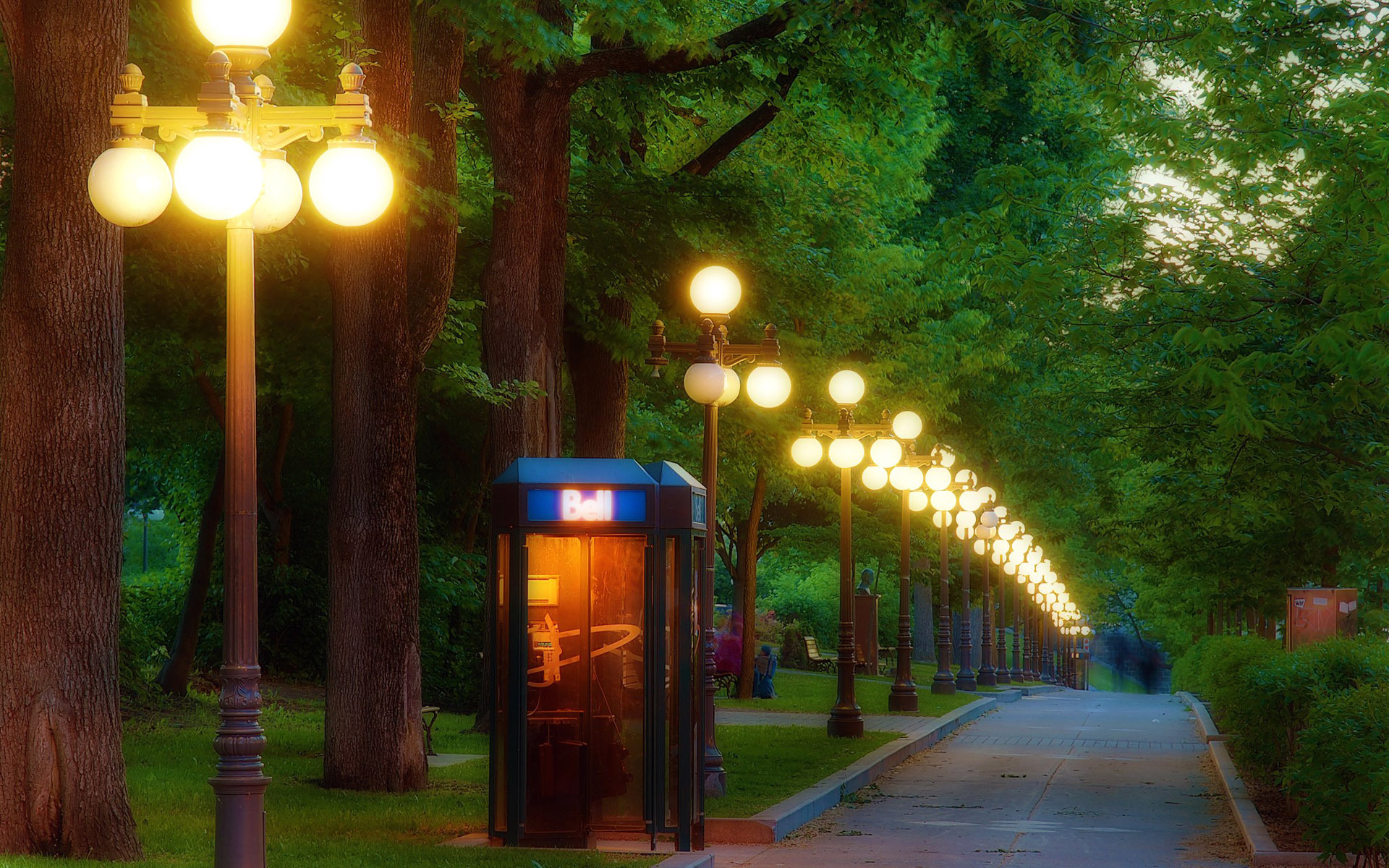 Telephone booth in the park