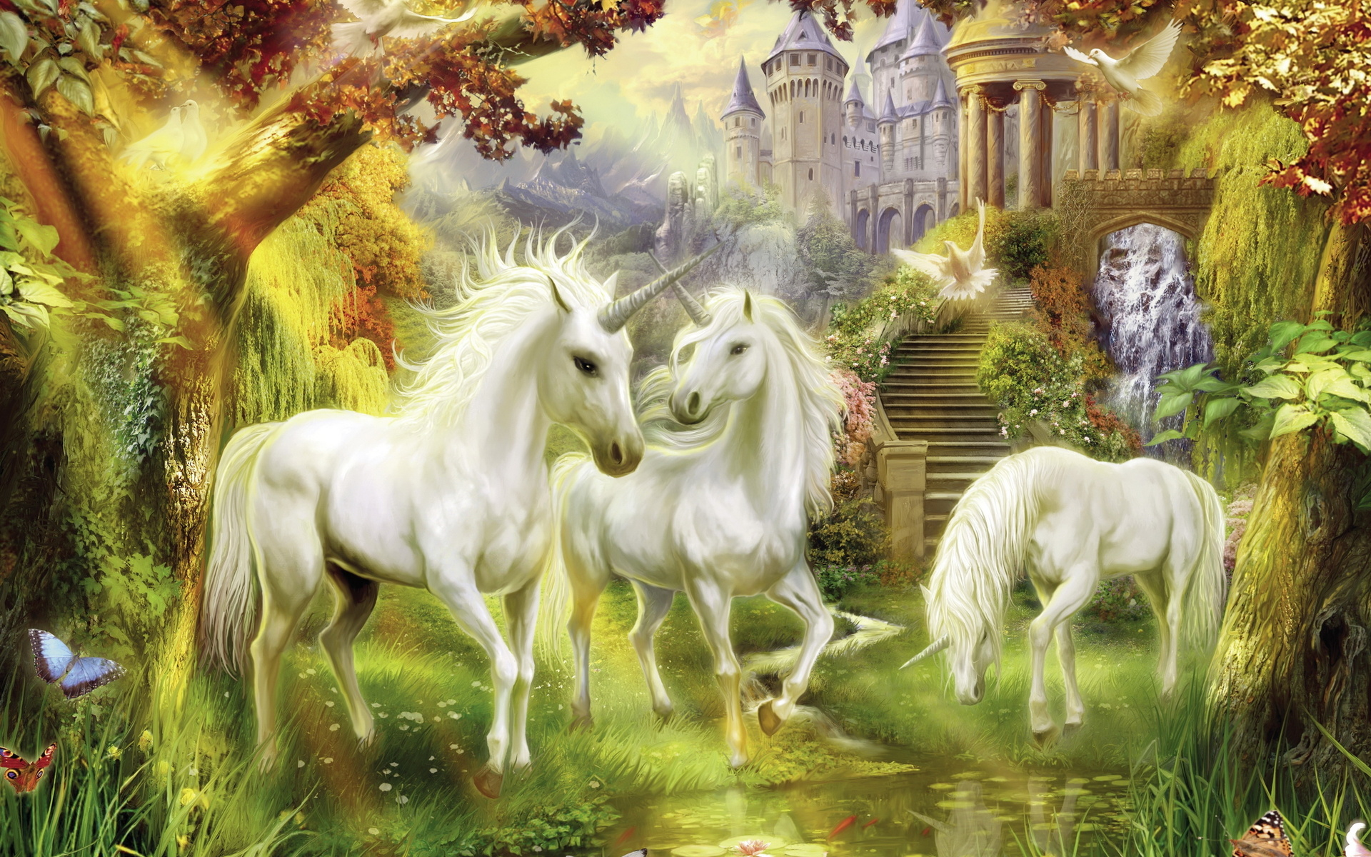 thomas-kinkade fantasy unicorn magical architecture buildings trees forest paintings horses artistic flowers