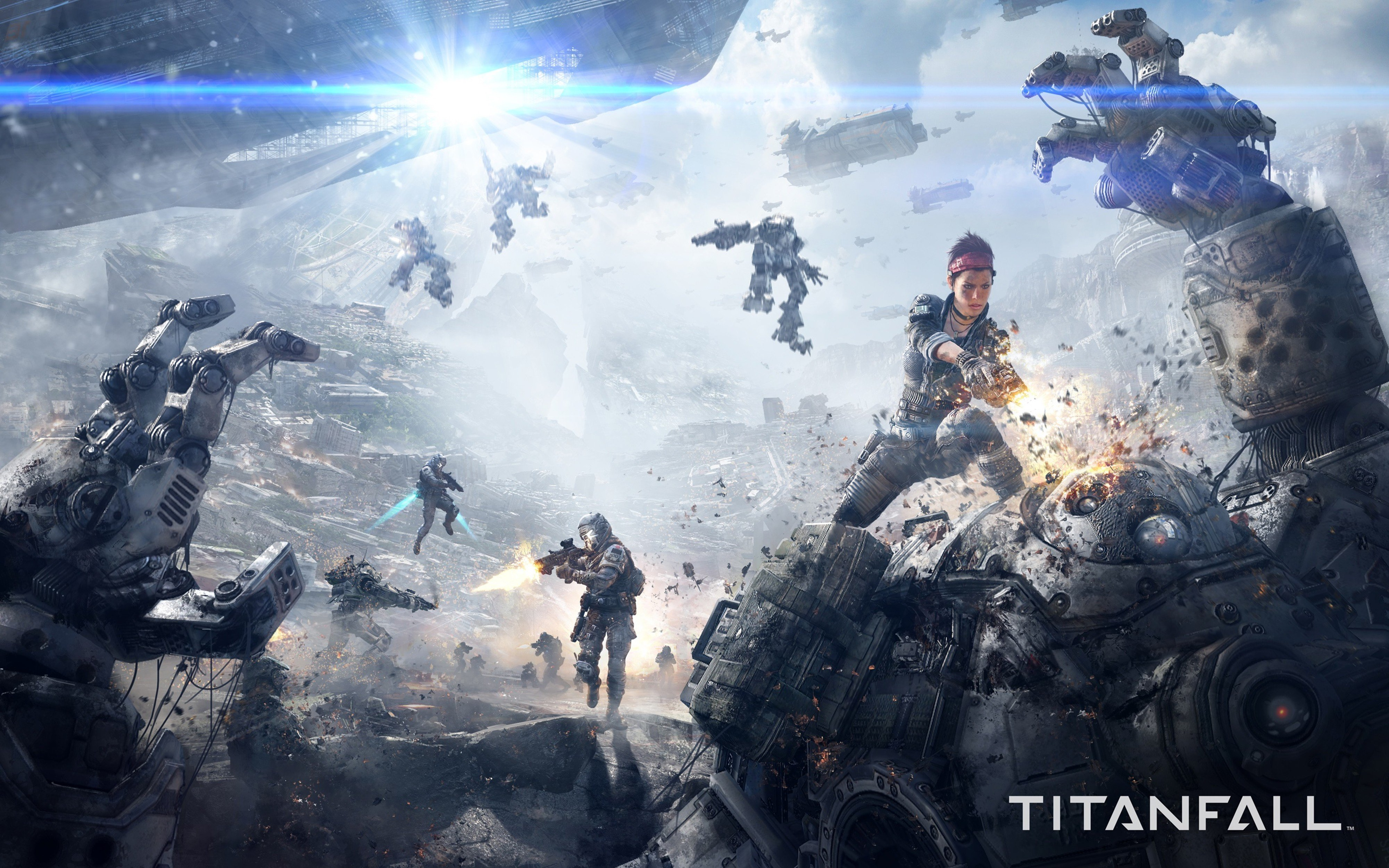 titanfall game sci-fi future war battle 4000x2500