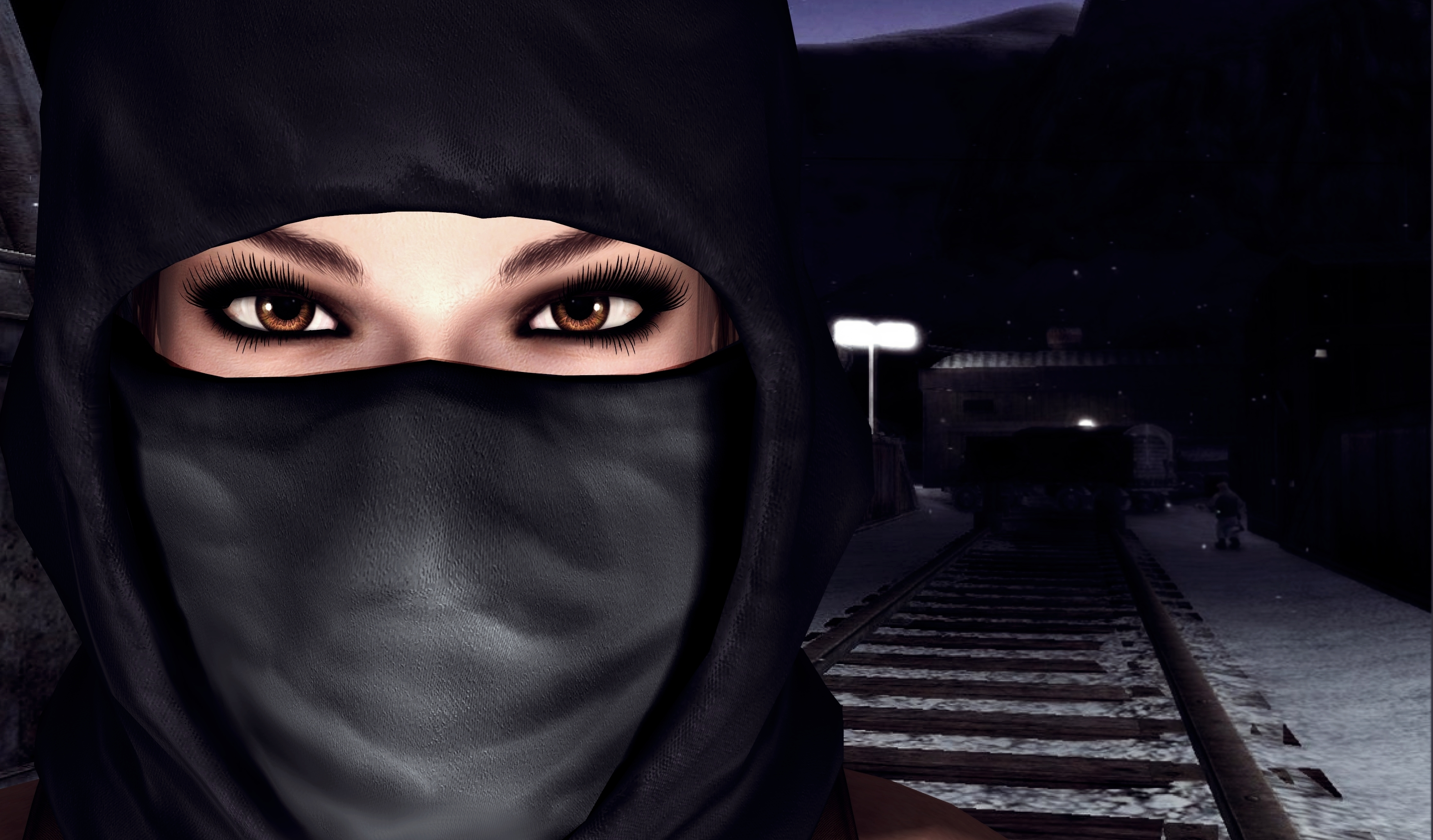 Tomb Raider Mask Railroad Eyes Glance Lara Croft Games Girls 3D Graphics warrior