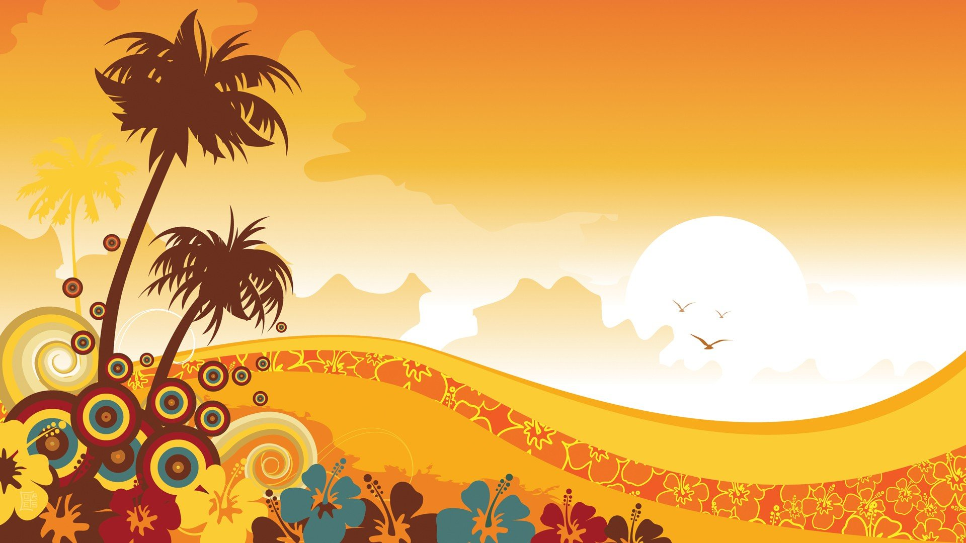 tropical illustrations floral sunny vector art