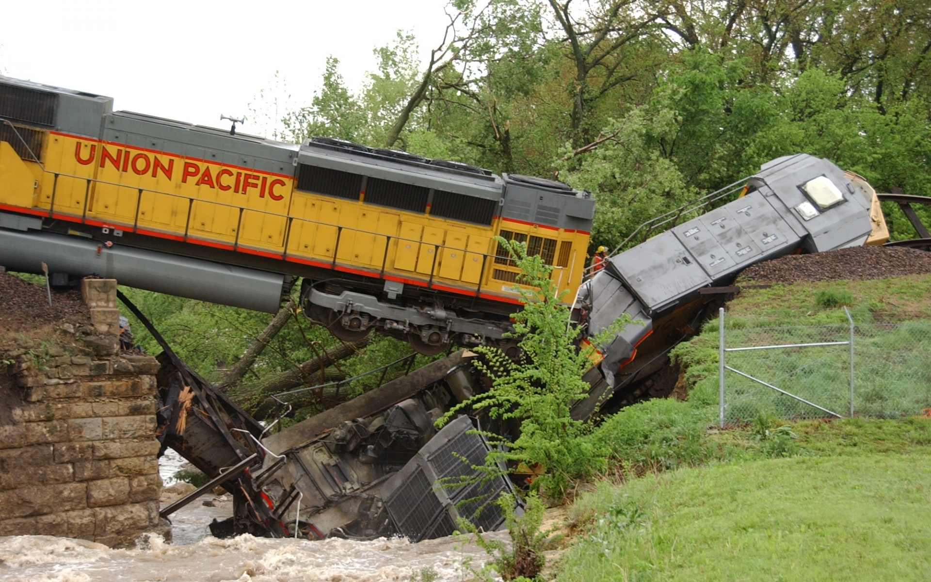 vehicles trains railroad engine locomotive accident wreck ruindestruction architecture bridges trees rivers water