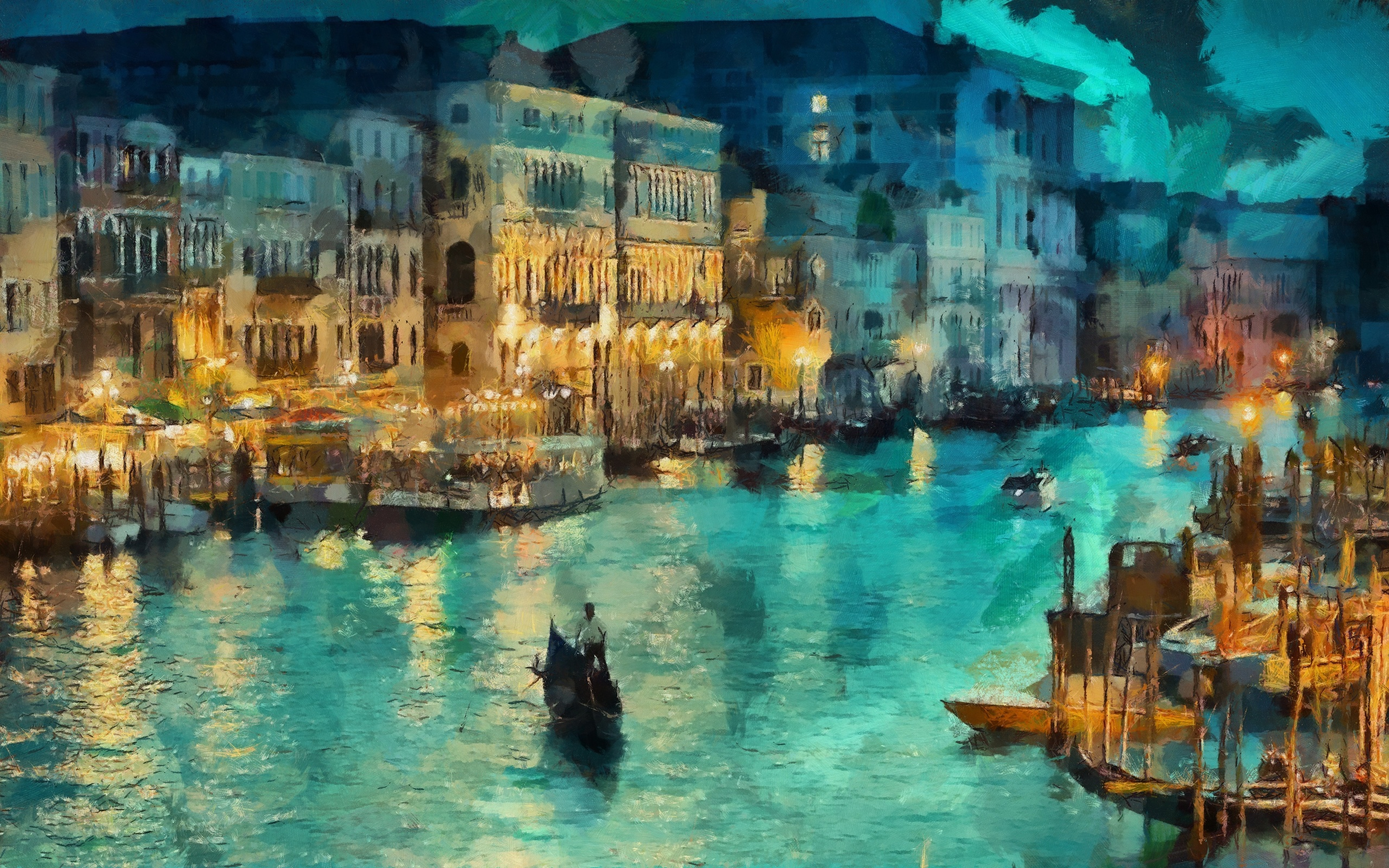 venice canal art lights italy night painting