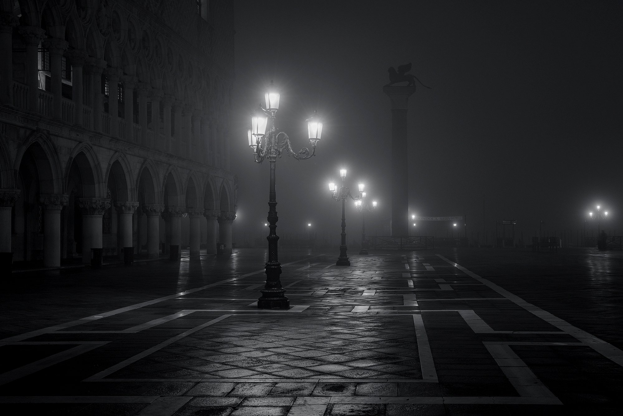 Venice Italy Piazza San Marco city night fog lights black and white mood