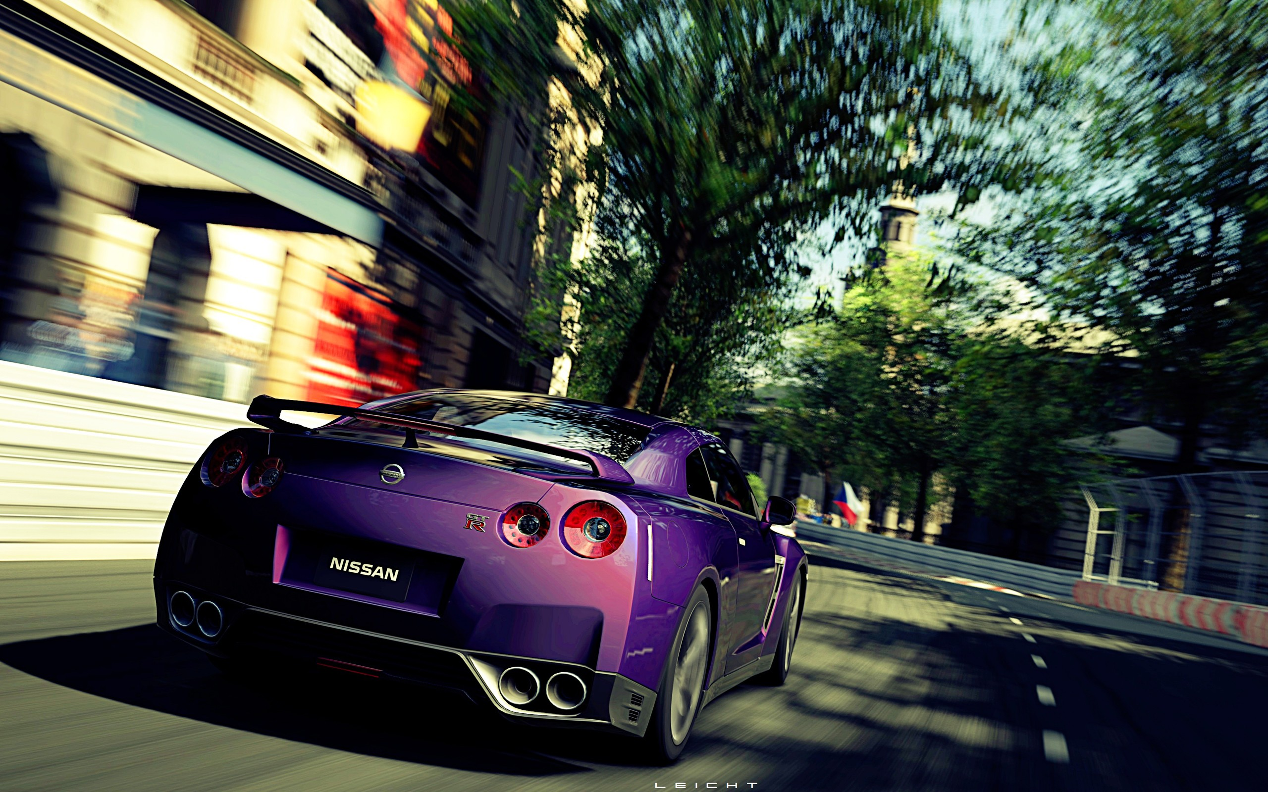 video games cars violet roads Gran Turismo 5 races Playstation 3 speed Nissan GT-R Mid Night Pearl