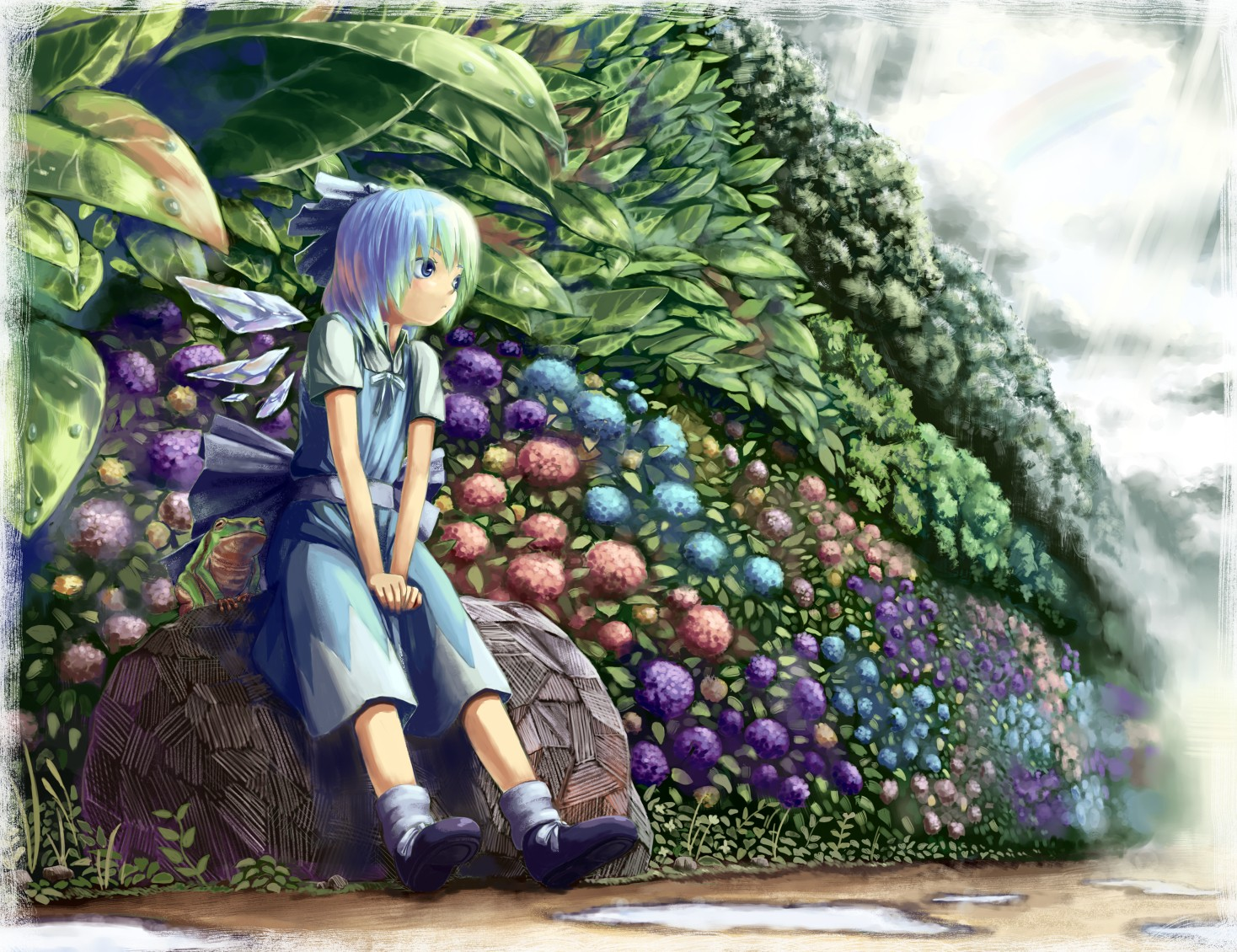 video games ice Touhou wings dress flowers blue eyes Cirno outdoors socks fairies blue hair plants short hair bows sitting blue dress anime girls hair ornaments bangs