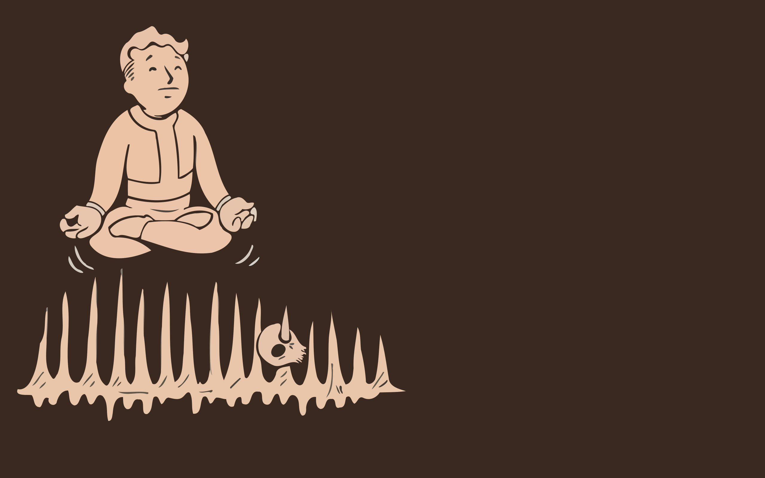 video games minimalistic Fallout brown Vault Boy simplistic simple pip boy
