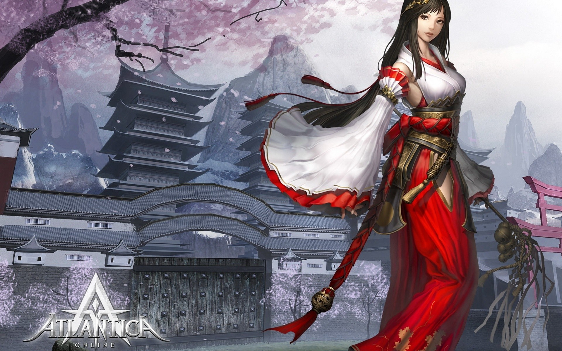 video games mountains cherry blossoms text long hair buildings Miko pagodas MMORPG priestess bells torii flower petals staff Japanese clothes detached sleeves Atlantica Online black hair