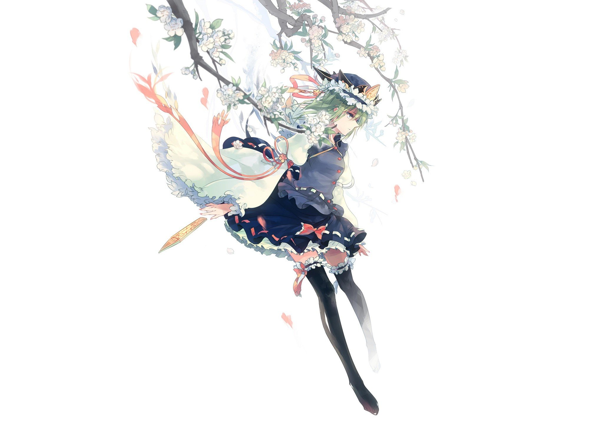 video games Touhou cherry blossoms uniforms skirts ribbons blossoms green eyes short hair thigh highs green hair bows flower petals hats Shikieiki Yamaxanadu simple background branches white background