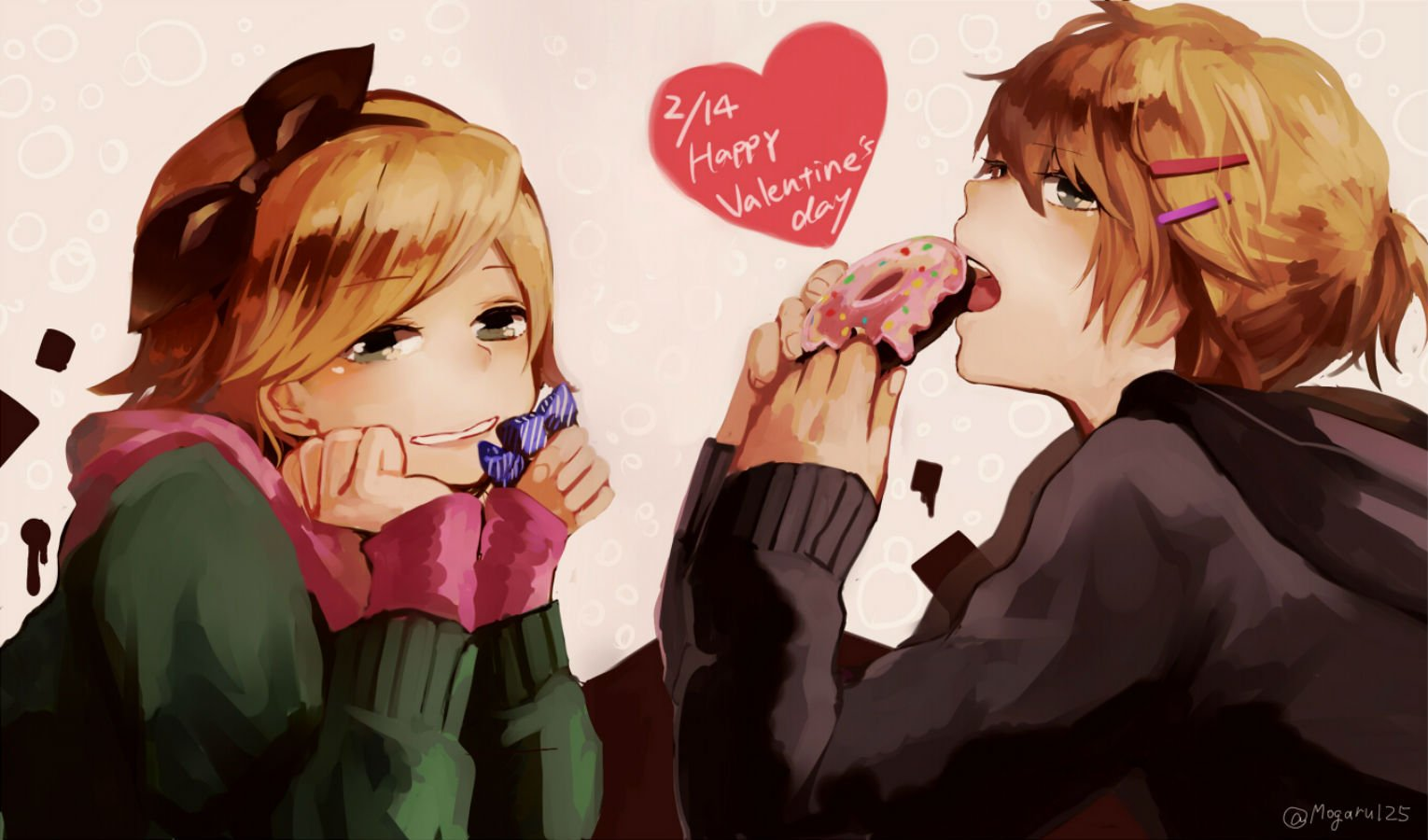 vocaloid blonde hair food gray eyes kagamine len kagamine rin short hair signed valentine vocaloid