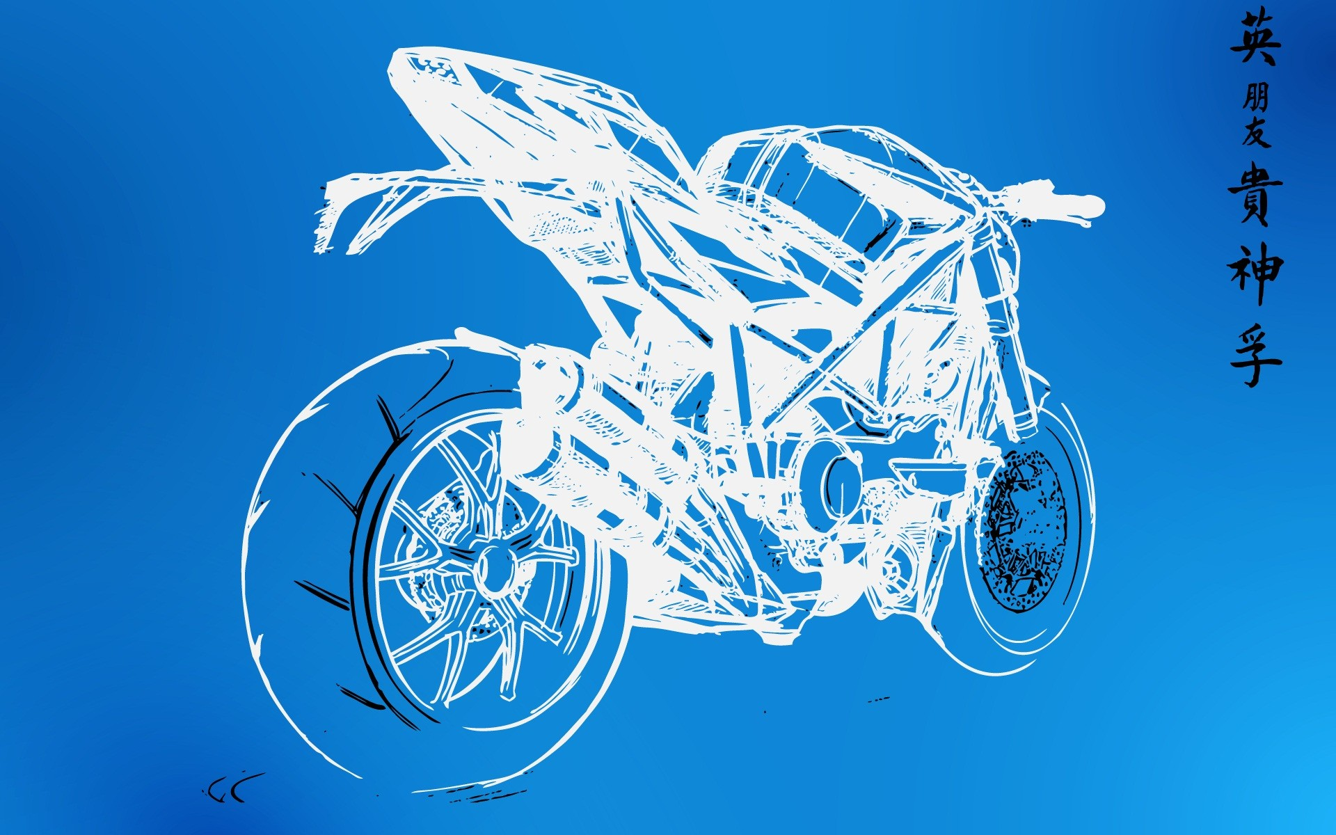wall sketches motorbikes graphic blueprint
