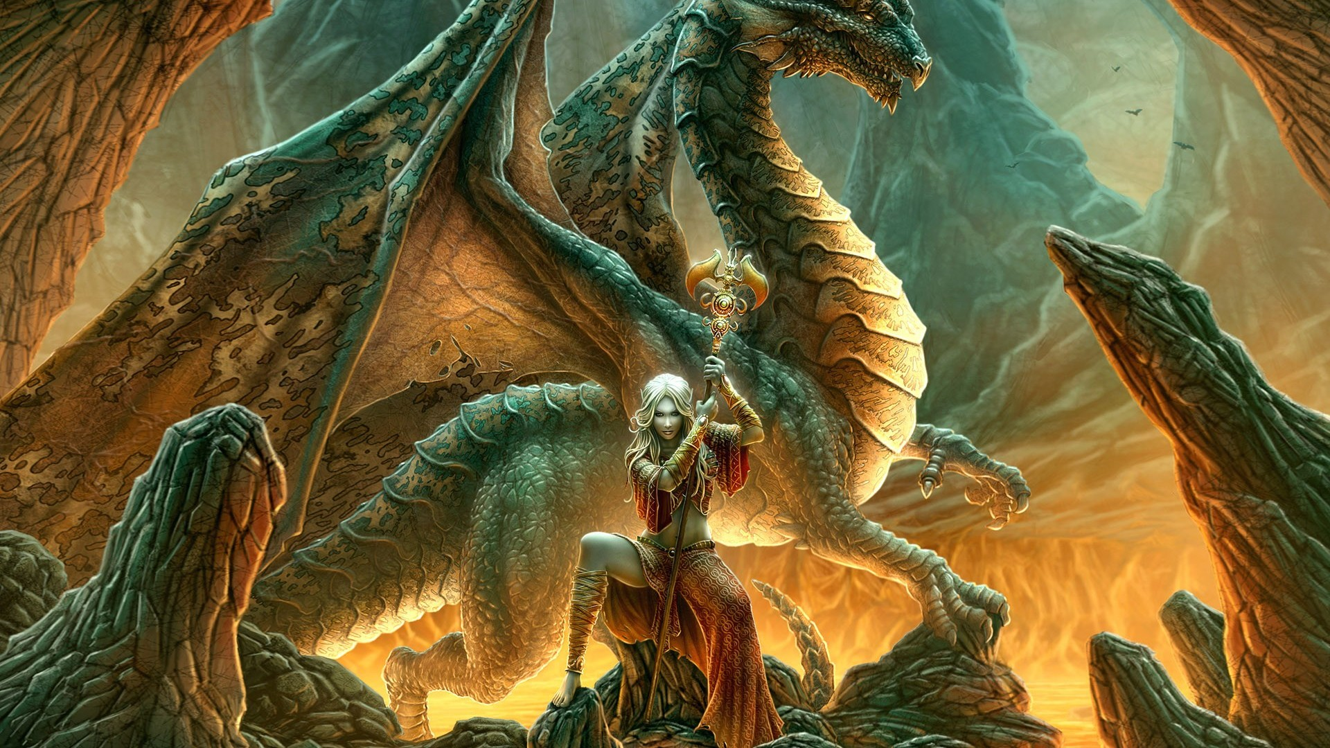 Warrior woman with her dragon