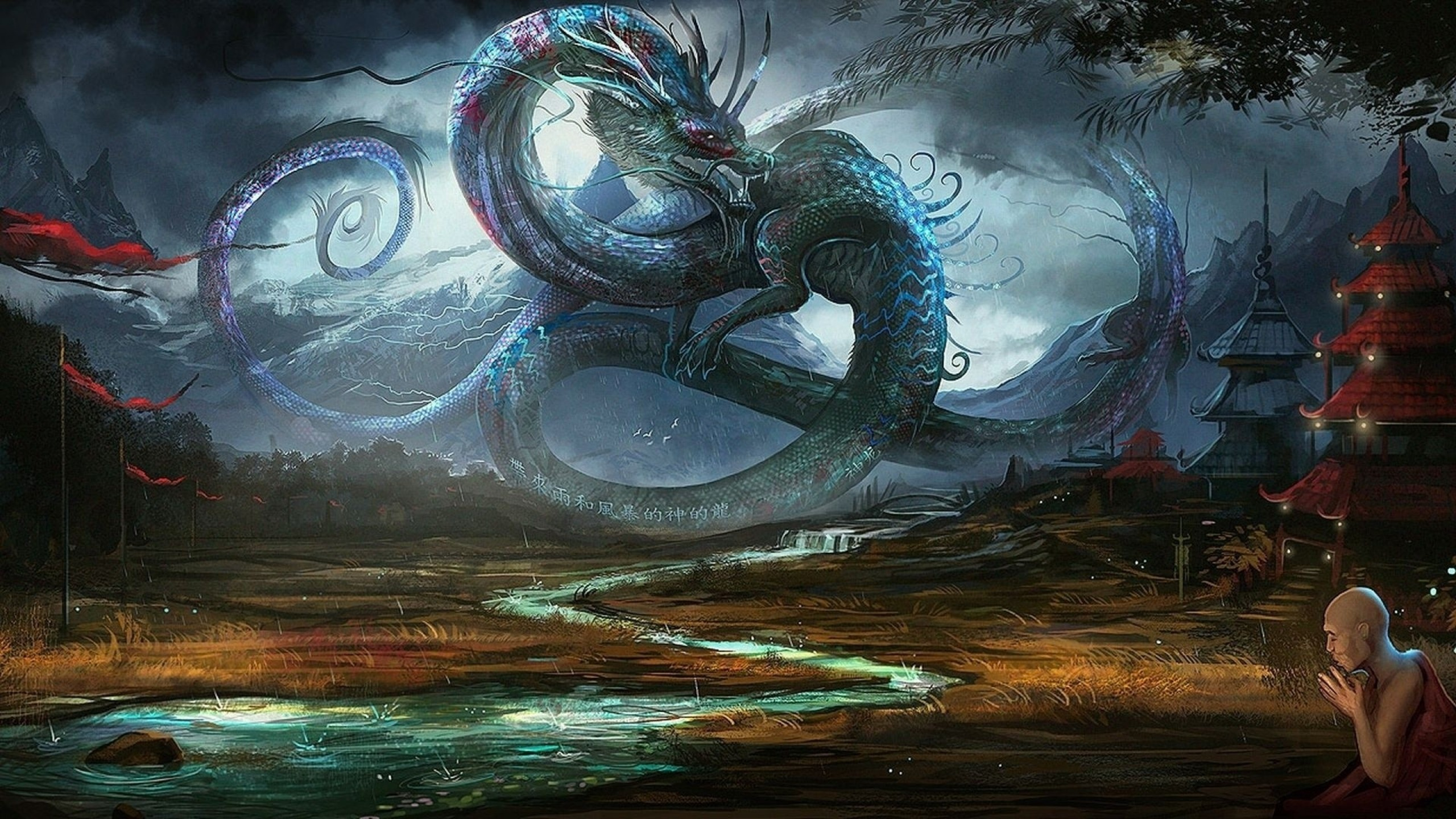 water dragons rain China legendary flags fantasy art artwork low resolution skies shaolin sea