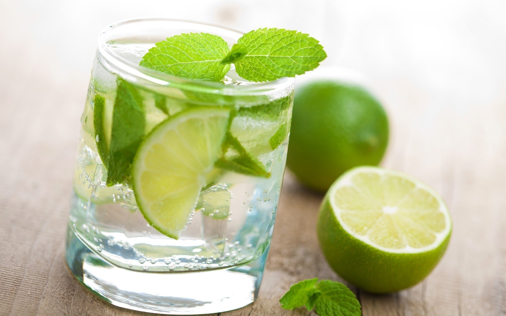 water glass fruits limes mint drinks mojito