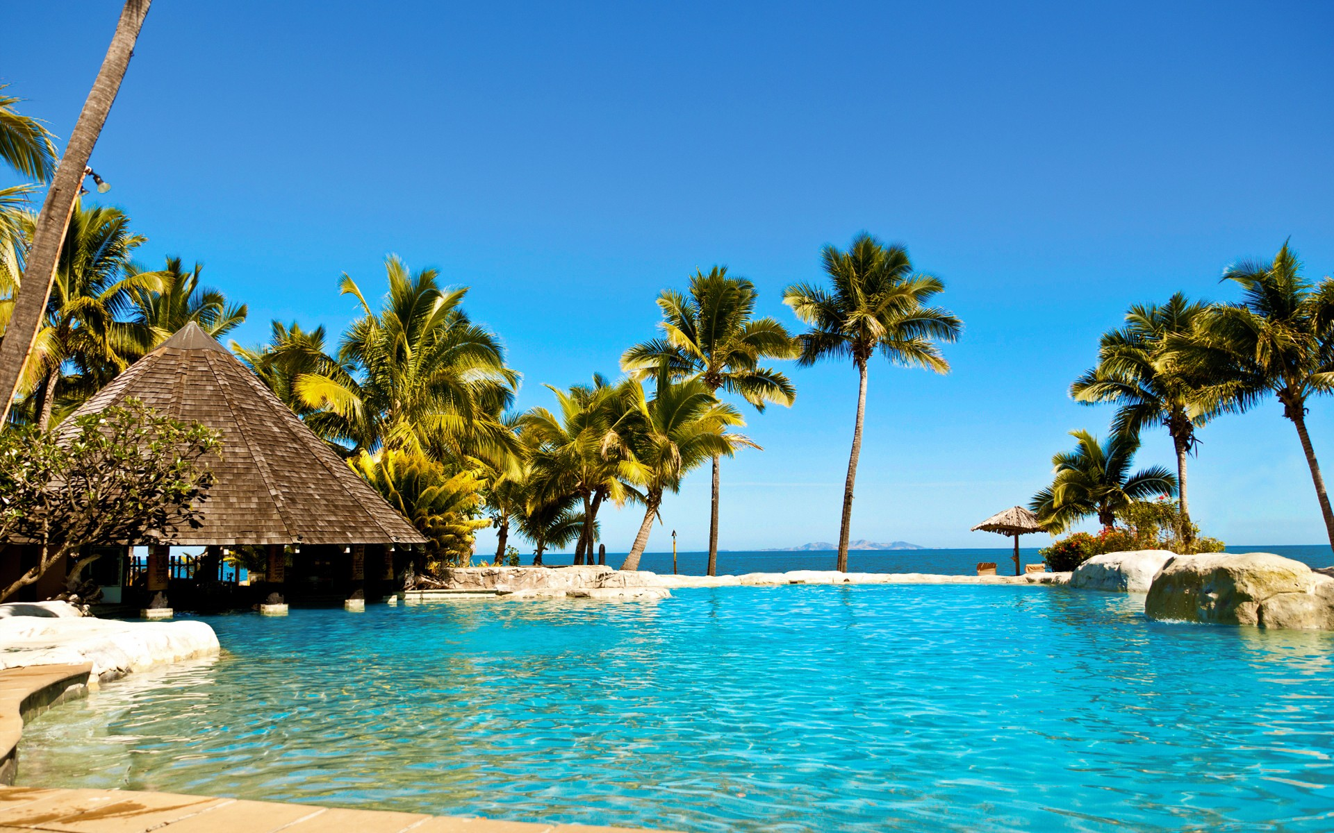 water ocean Sun summer tropical Fiji palm trees huts swimming pools hotels Fiji islands resort relaxation sea beaches