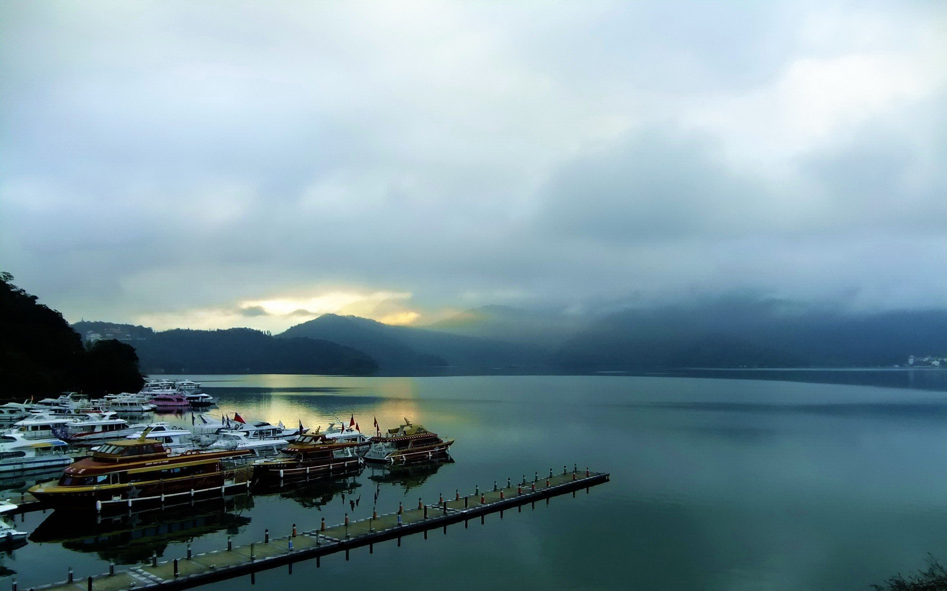 water sunrise mountains clouds landscapes dock ships piers boats lakes port skies