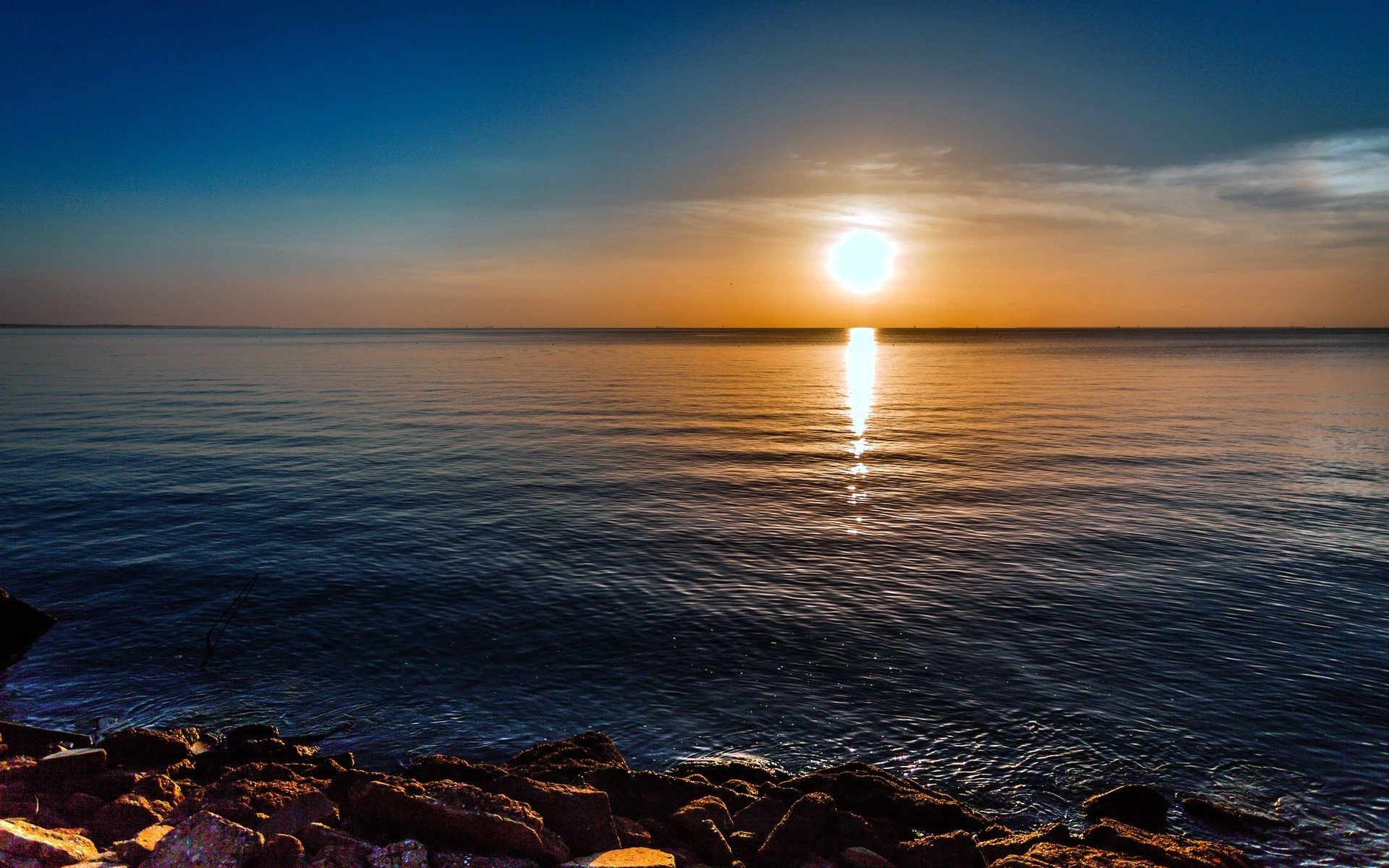 water sunrise ocean nature rocks HDR photography sea clear sky