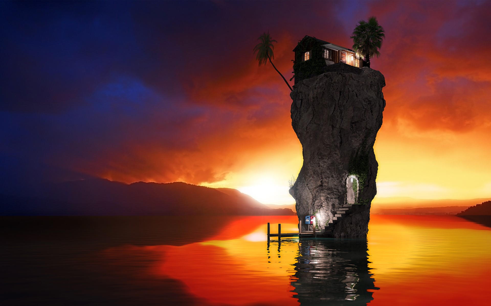 Water sunset houses rocks stairways palm trees reflections rendering