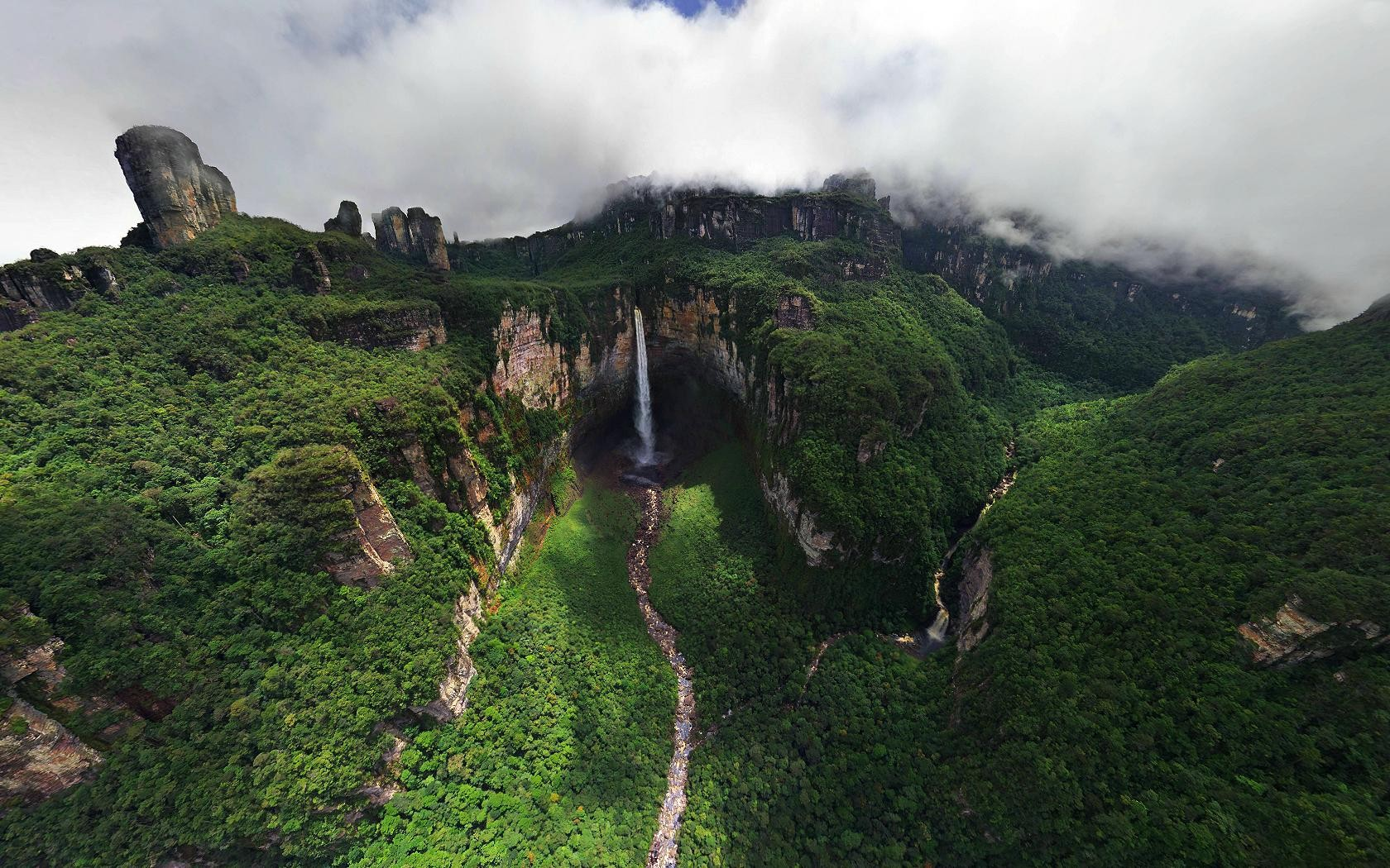 Waterfall Aerial Jungle Forest