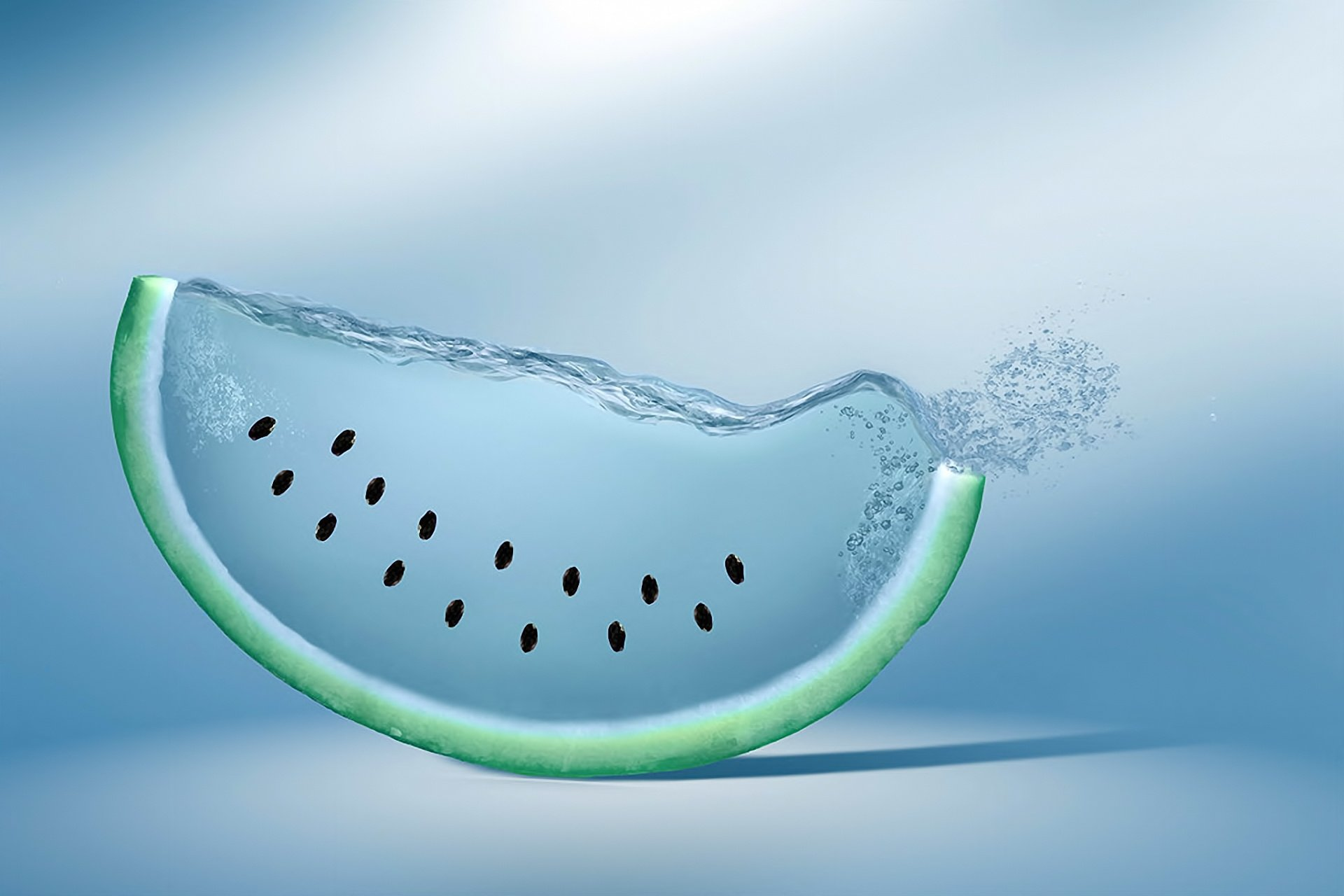 watermelon water blue background drop
