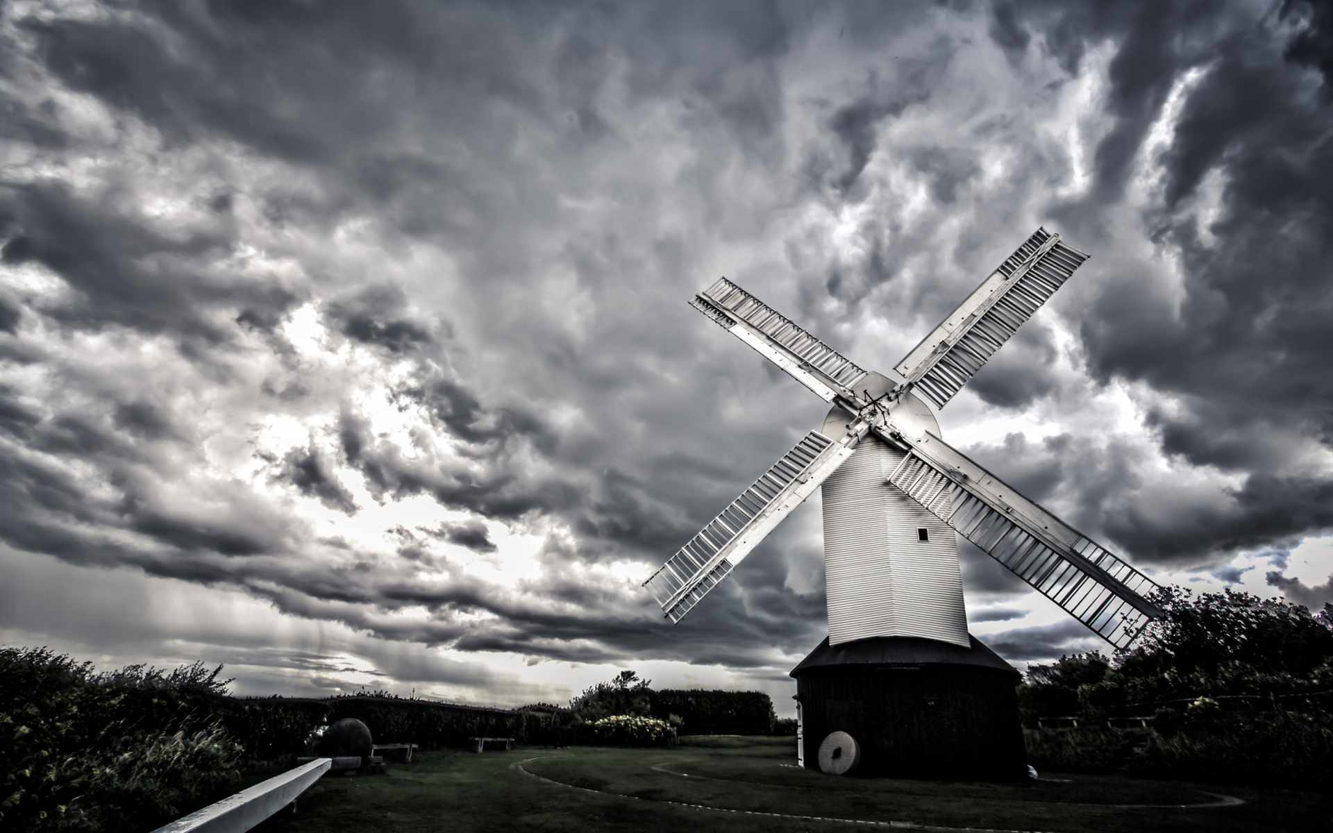 windmill world architecture sail wind buildings fence nature landscapes sky clouds hdr black white monochrome