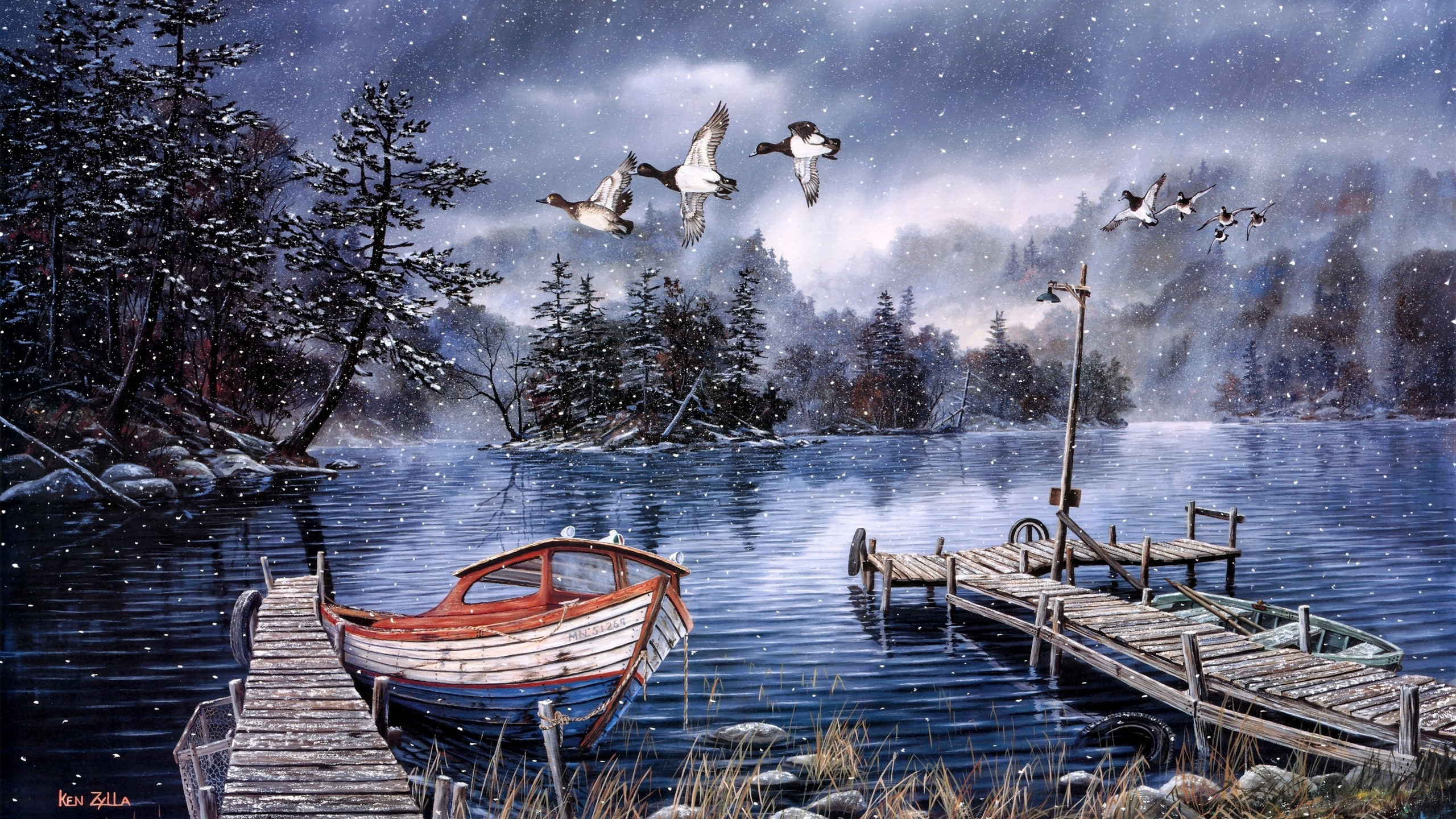 winter snow rustic duck ducks birds lakes trees boat boats country art print painting