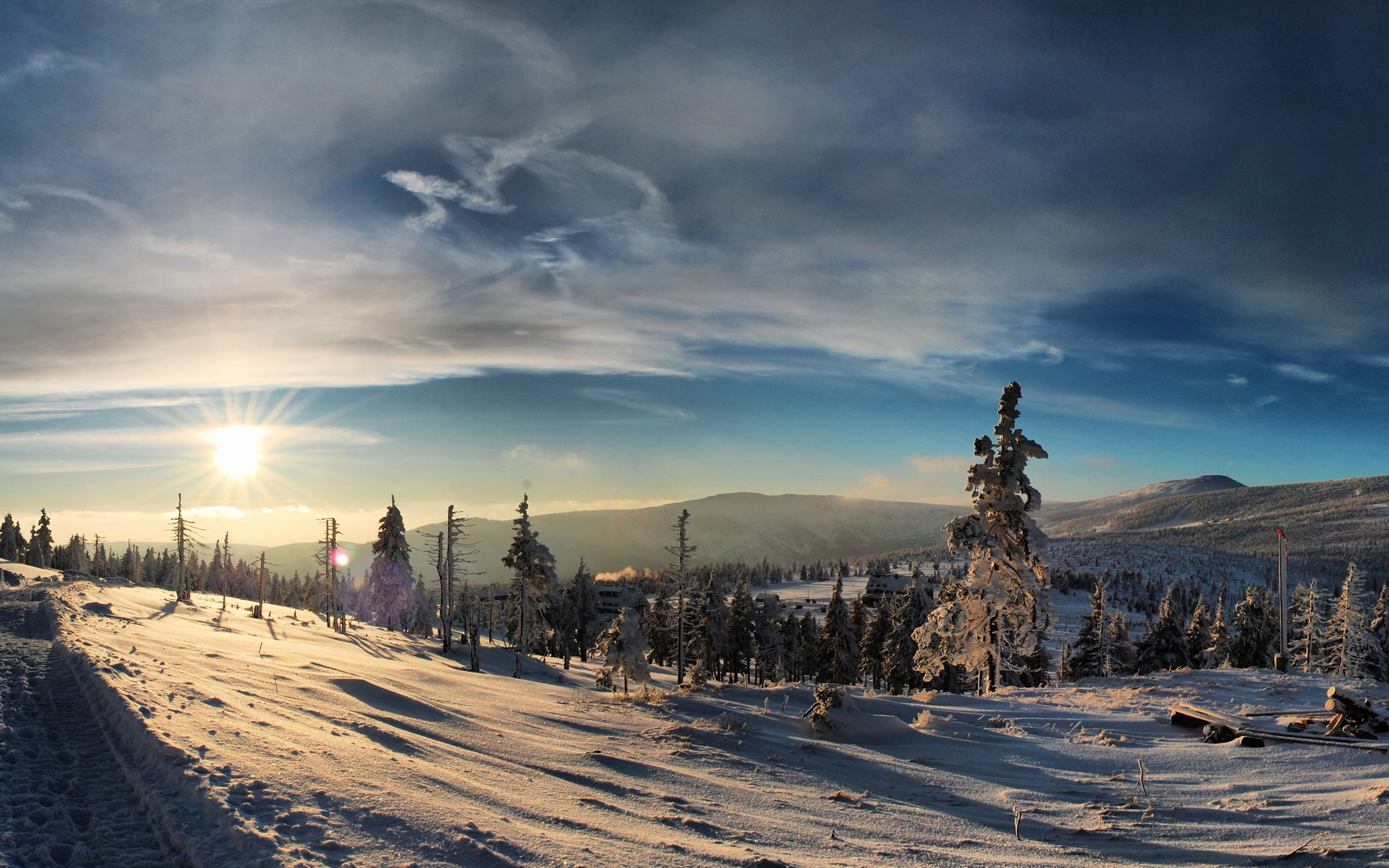winter snow sun sky nature blue tree mountain
