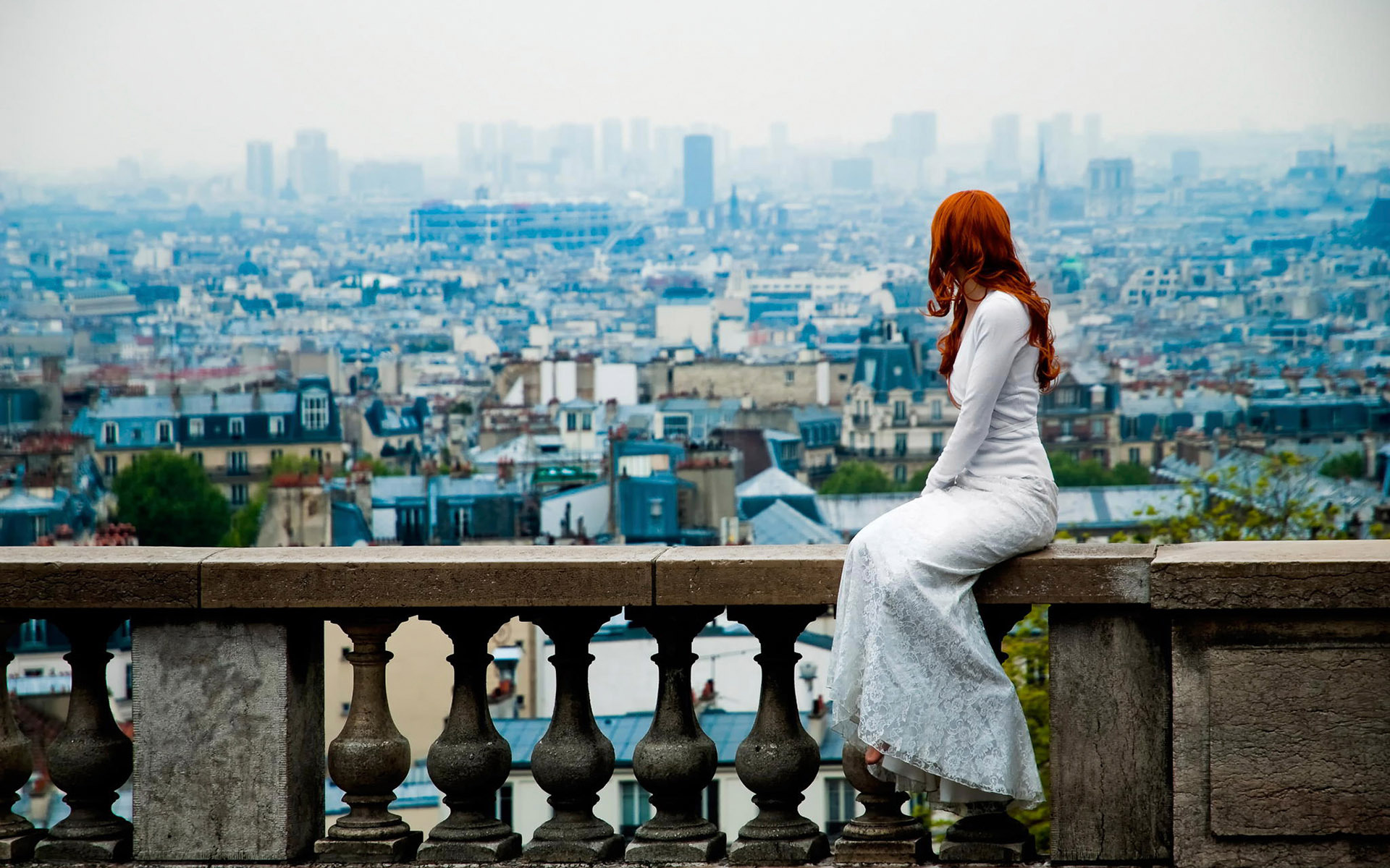 Woman looking at the city