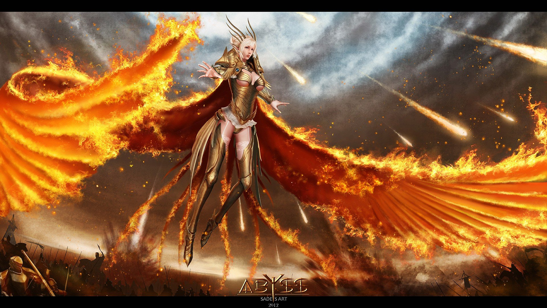 women flames wings fire fantasy art battles warriors